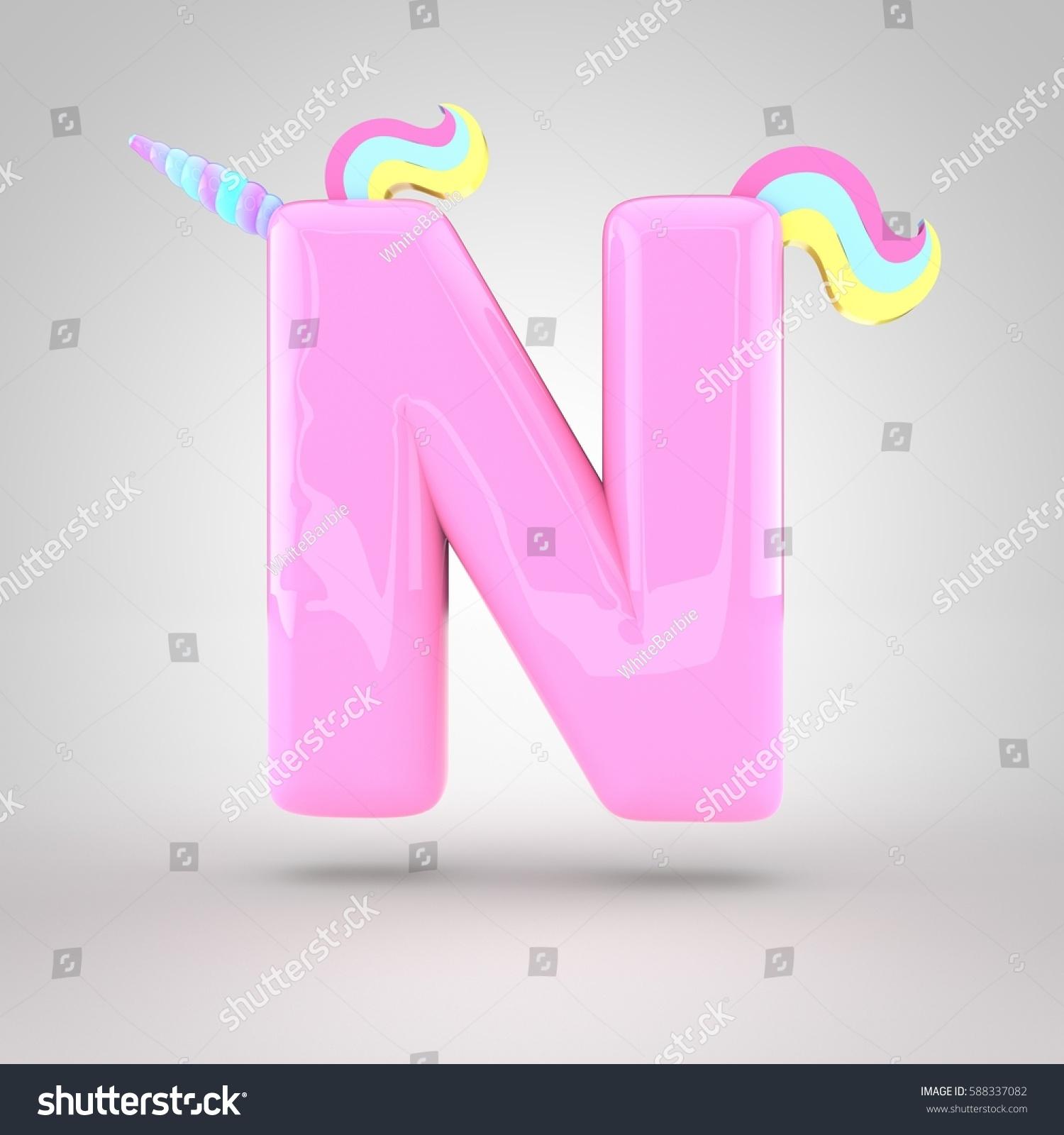 Cute Unicorn Pink Letter N Uppercase Stock Illustration - Royalty ...