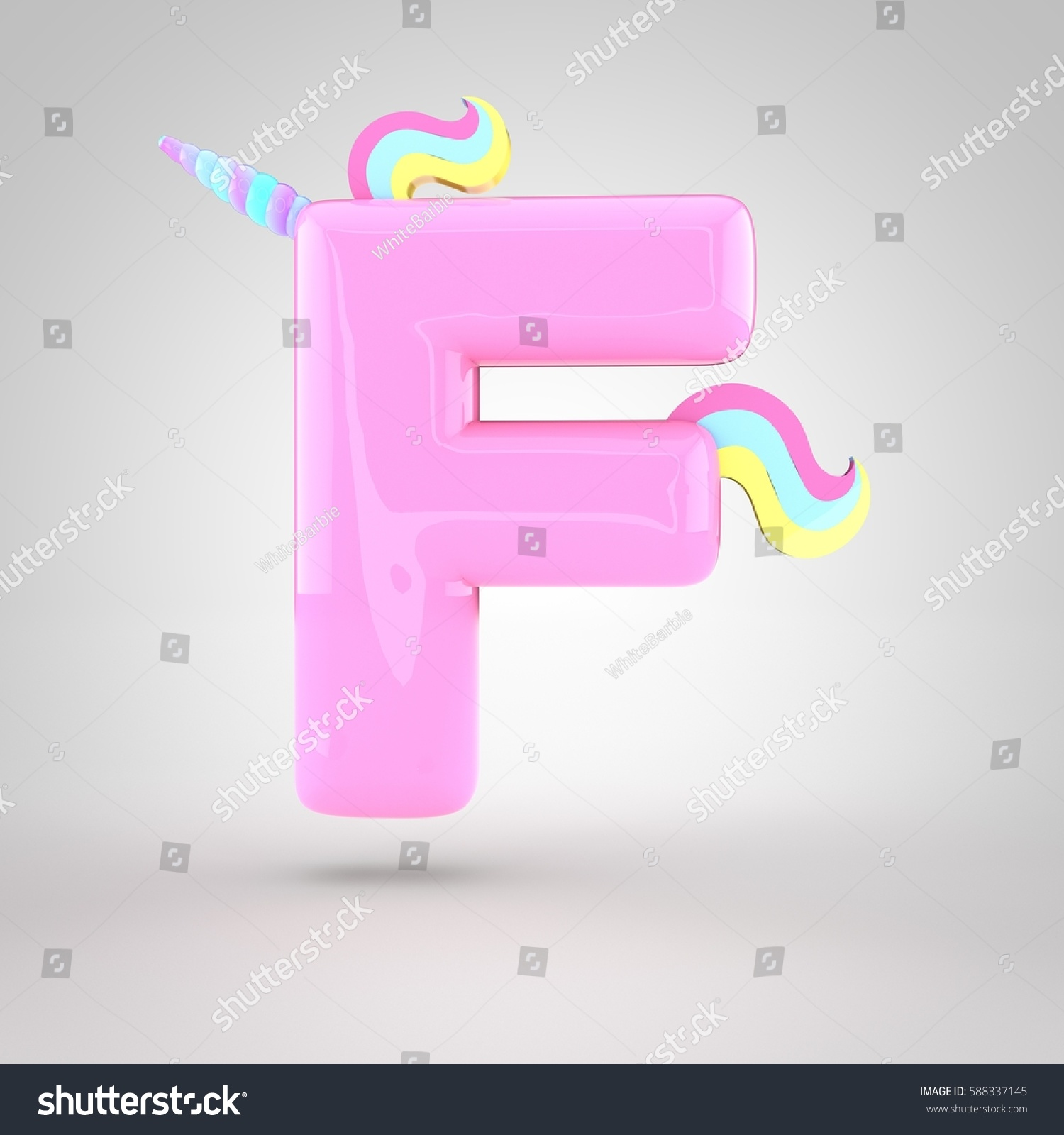 Cute Unicorn Pink Letter F Uppercase Stock Illustration 588337145 ...
