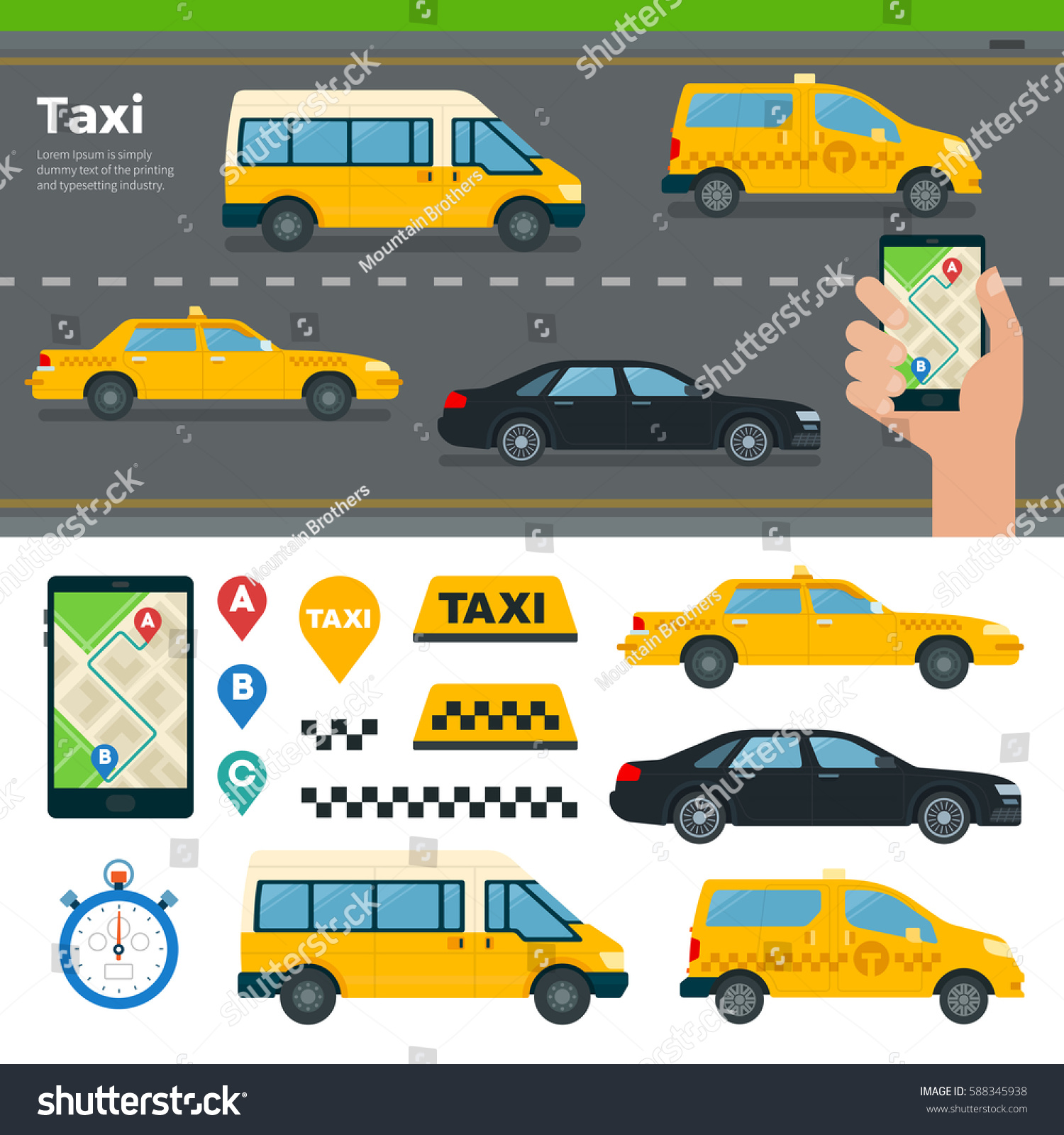 Banner different types taxi cars hand stock illustration 588345938 banner with different types of taxi cars and hand hold mobile app for booking taxi on biocorpaavc