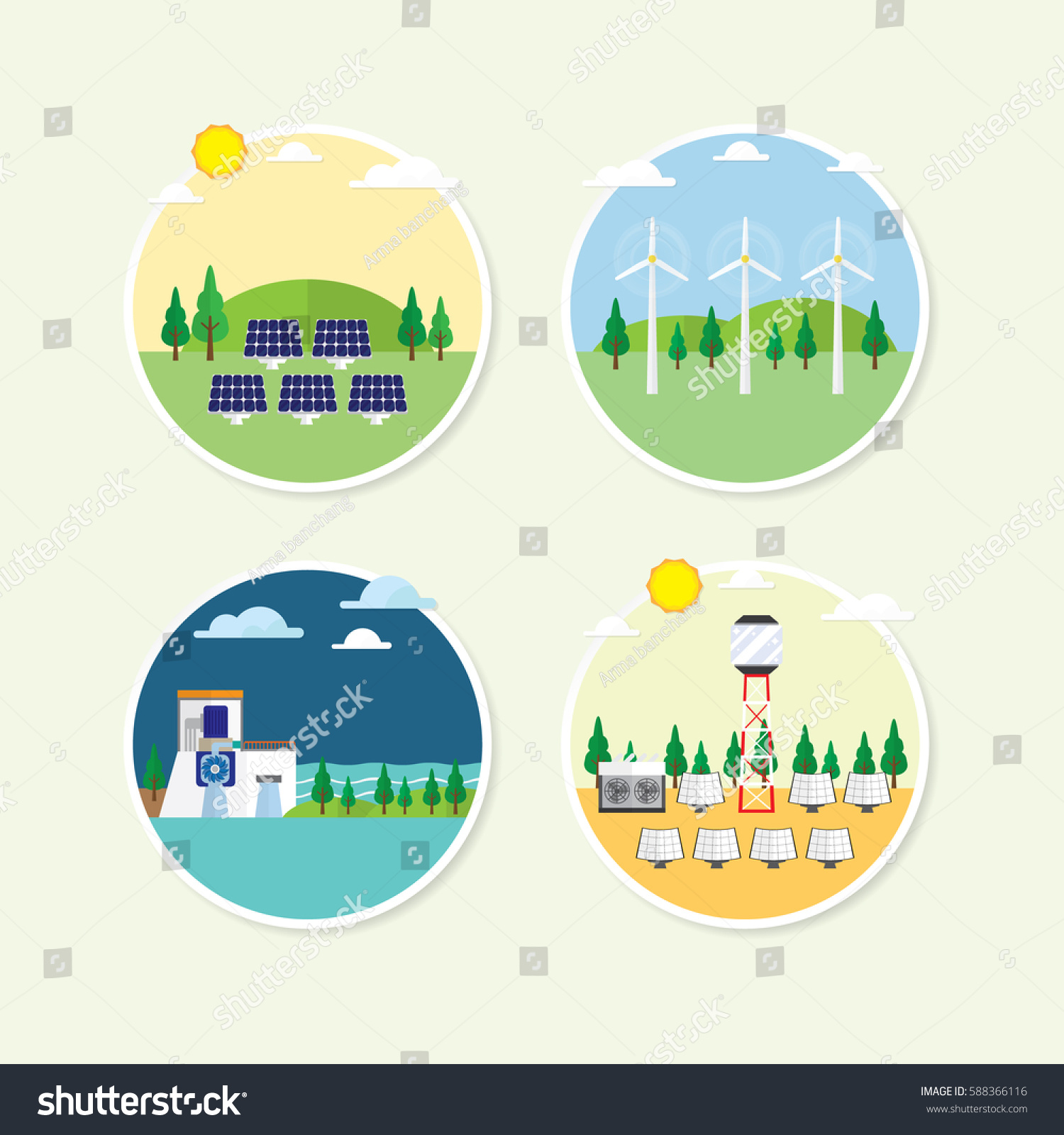 Renewable Energy Circle Icon Solar Cell Stock Vector