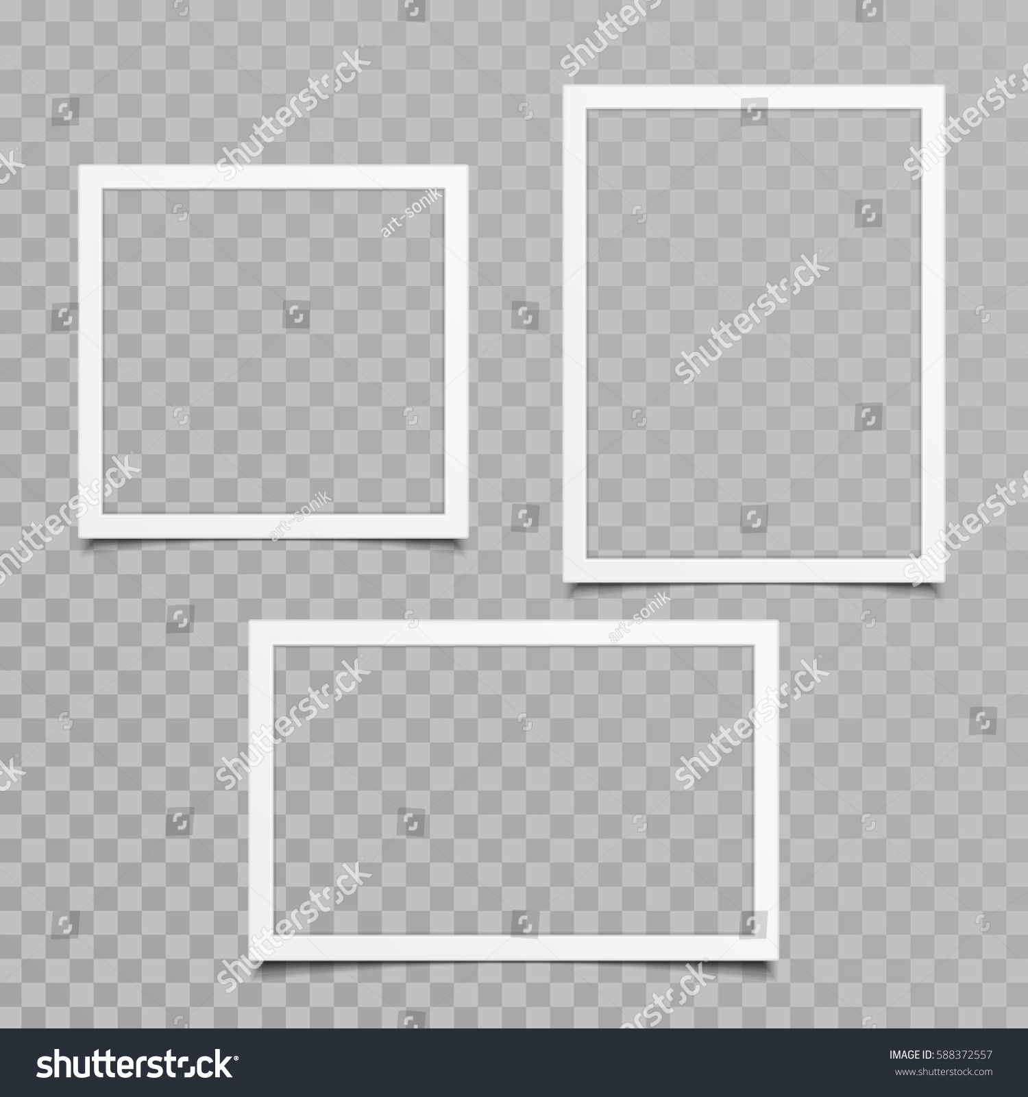 Set Blank Photo Frames Shadow Effects Stock Vector 588372557 ...