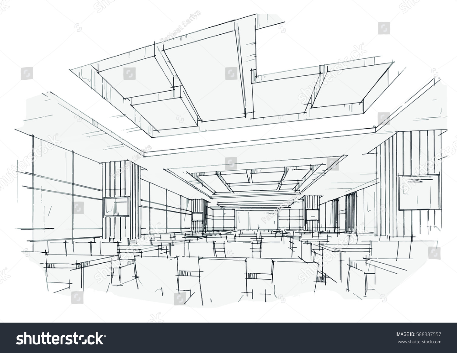 Classroom Design Sketch ~ Sketch streaks classroom black white interior stock vector