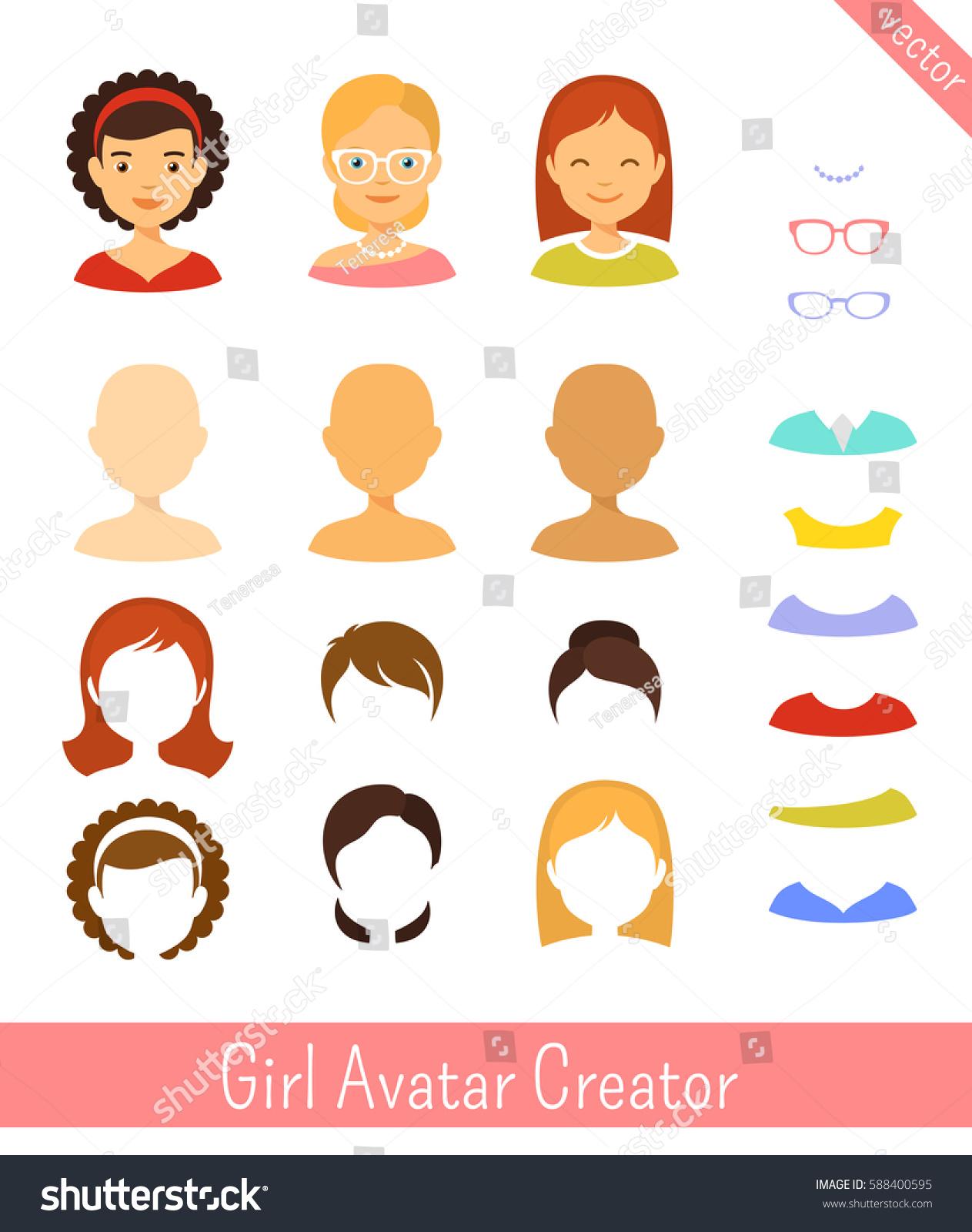 Girl Avatar Creator Woman Avatar Character Stock Vector