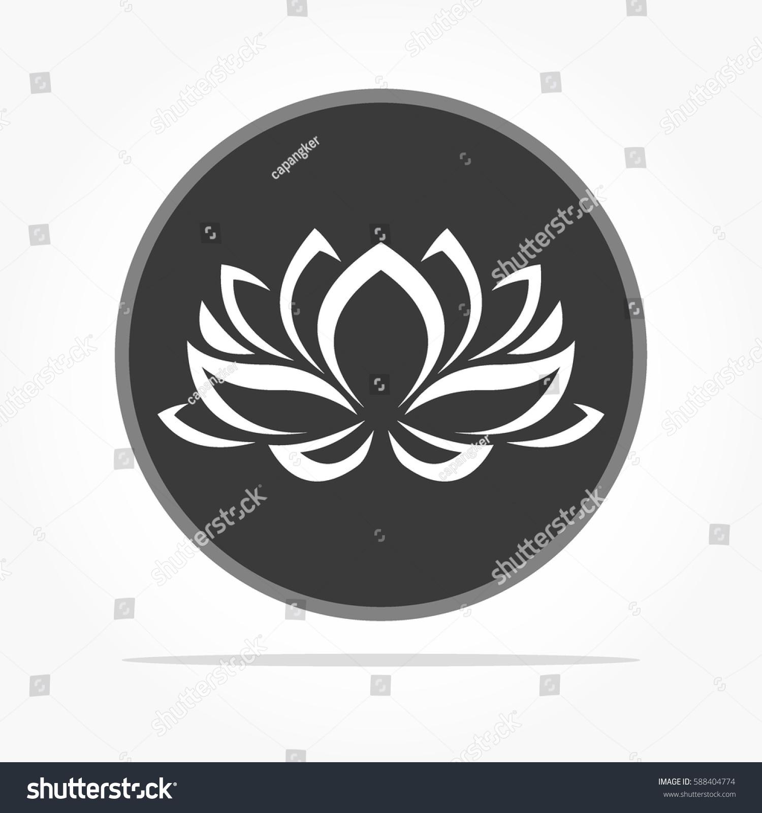 Flat Dark Grey Circle White Lotus Stock Vector Royalty Free
