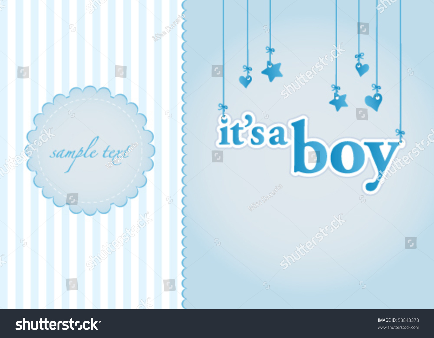 Baby Boy Arrival Announcement Card Perfect Stock Vector ...