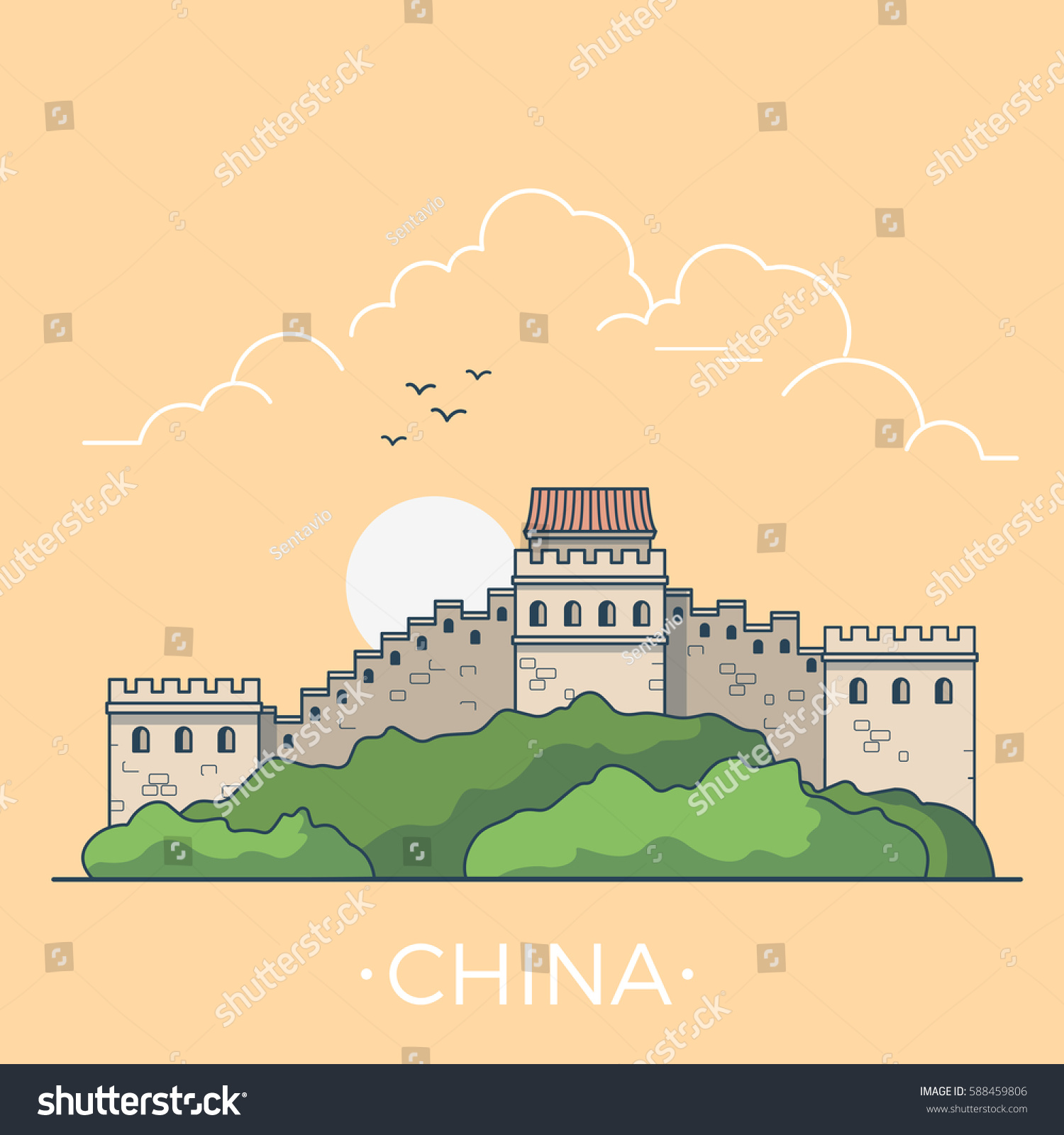 Great Wall China Country Design Template Stock Vector 588459806 ...