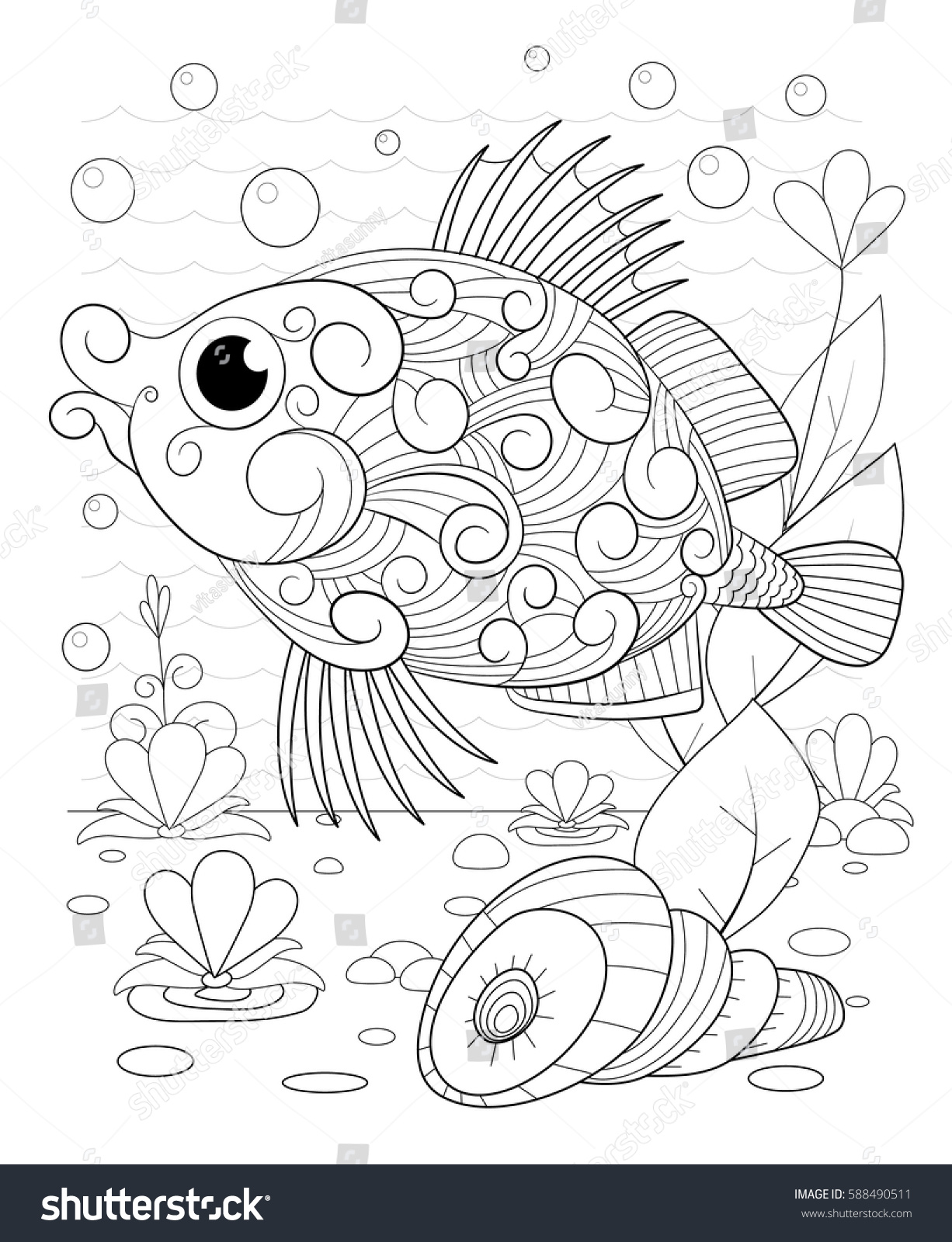 coloring pages of seaweed - hand drawn decorative fish waves seaweed stock vector