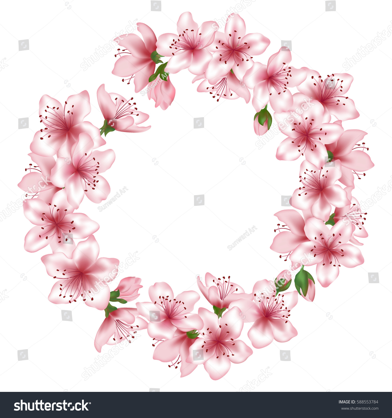Blossom Wreath Round Vector Flower Garland Stock Vector 588553784
