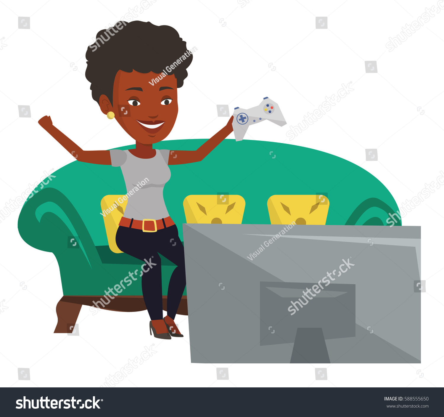 African Happy Gamer Playing Video Game. Excited Woman With Console Playing Video  Game At Home