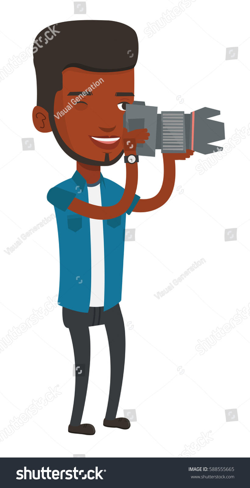 Africanamerican Photographer Working Digital Camera Smiling Stock Of Cameras African American With Taking A Photo Young