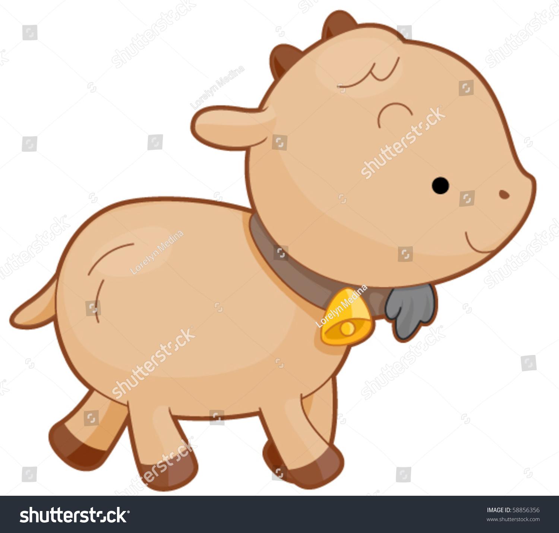 Cute Baby Goat Walking Bell Vector Stock Vector 58856356 ...