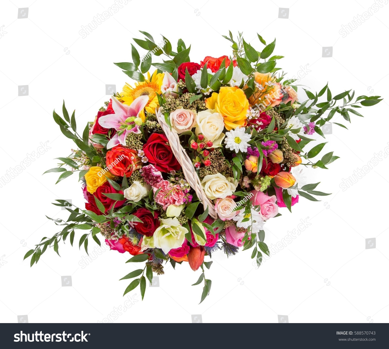 Bouquet of flowers seen from above roses chrysanthemum gerber bouquet of flowers seen from above roses chrysanthemum gerber carnation and goldenrod ez canvas izmirmasajfo