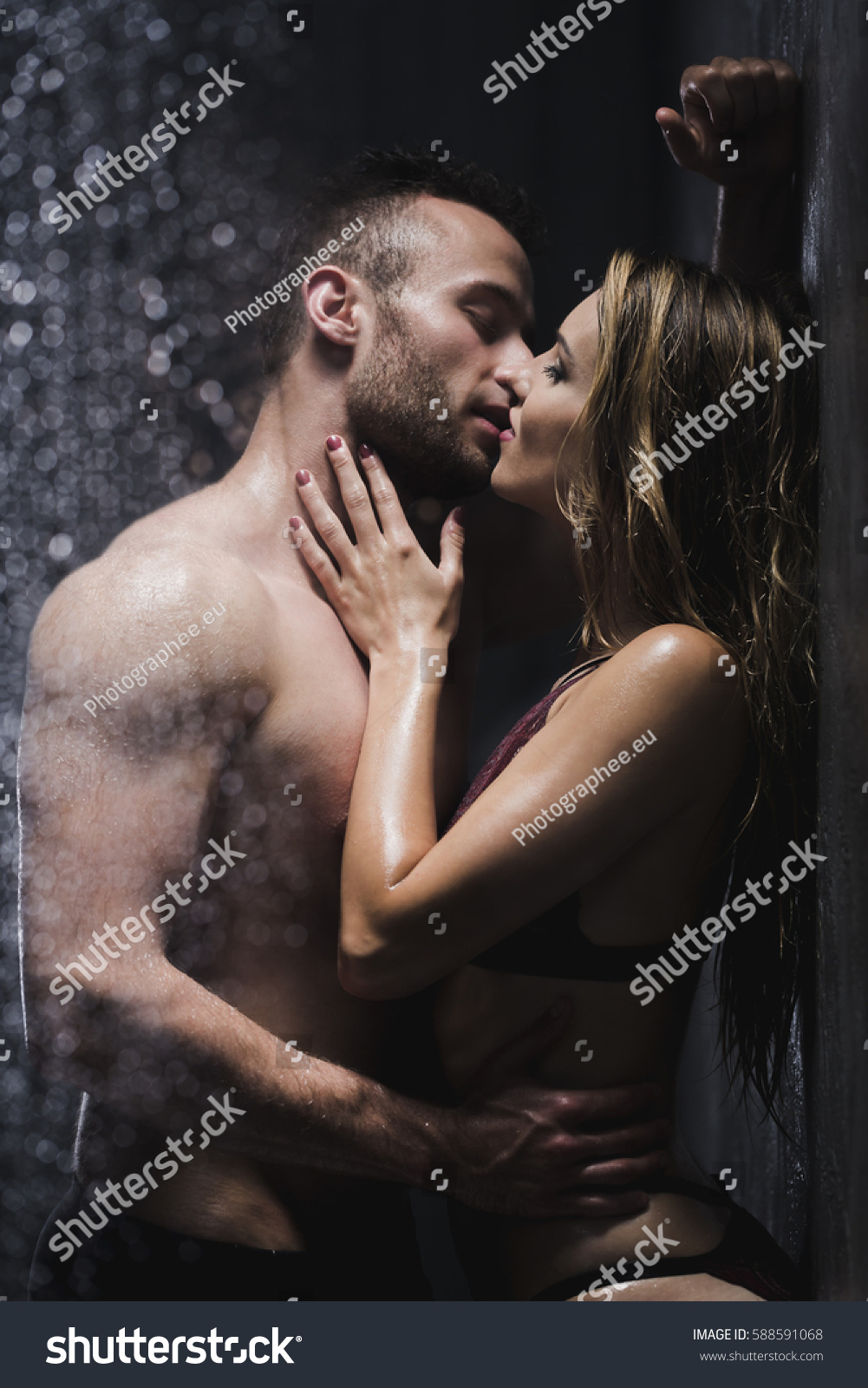 Erotic Ecstasy Between Young Couple Under Stock Photo -9035