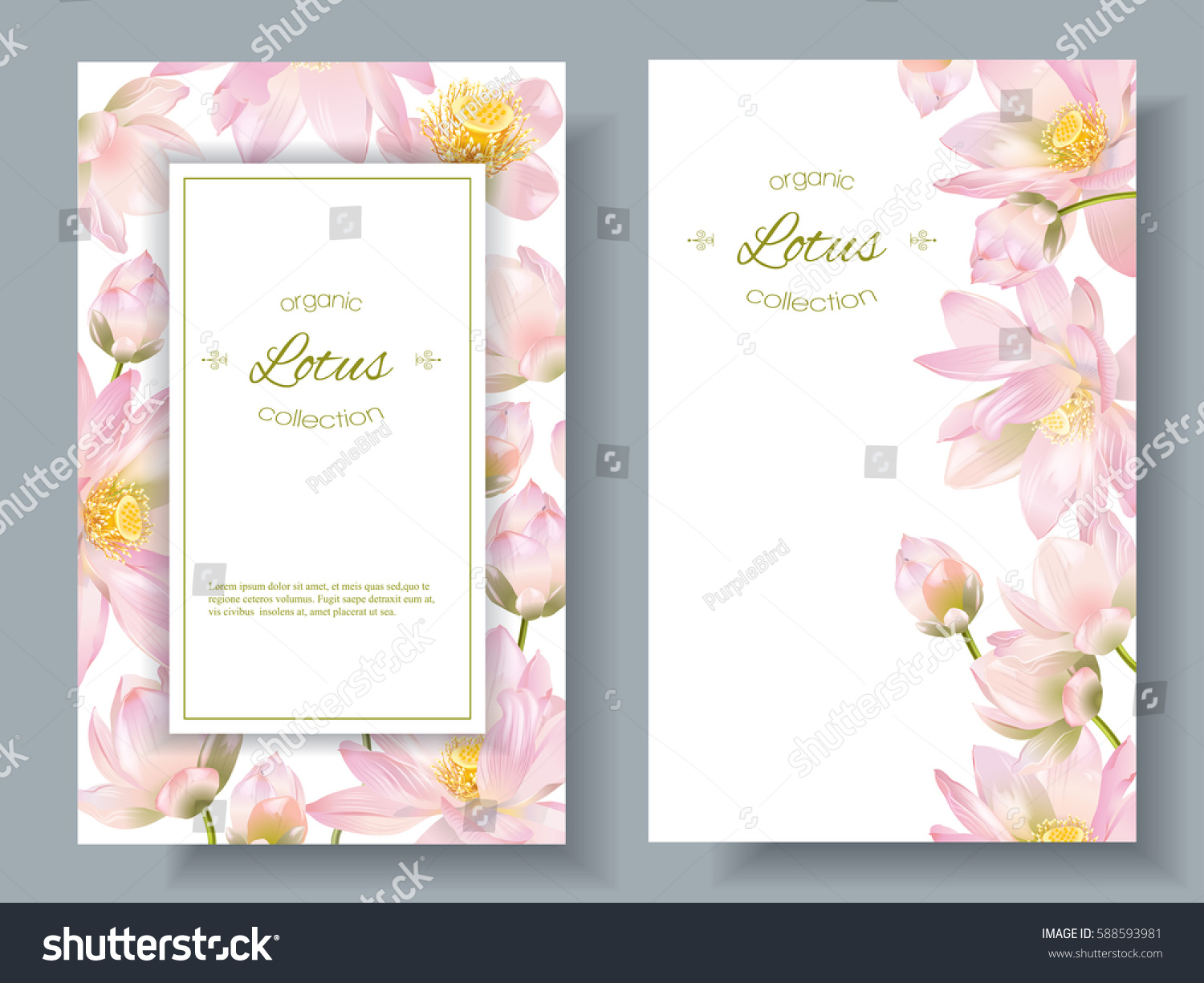vector botanical vertical banners lotus flowers stock