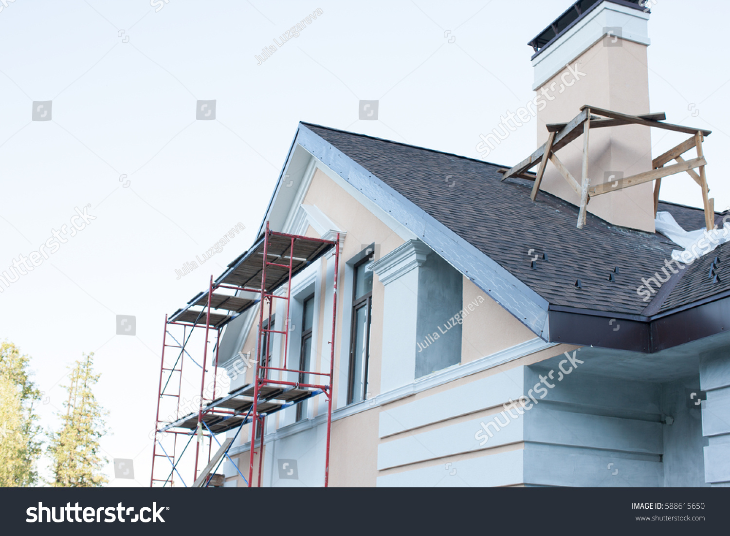 Construction Repair Cottage House Balcony Eaves Stock