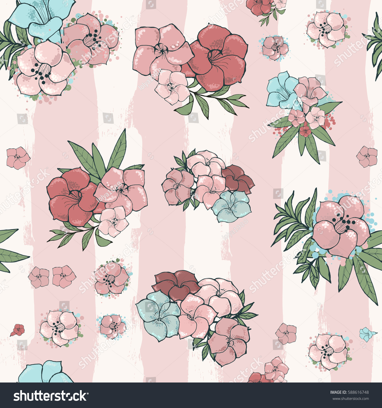 Vector Light Seamless Pattern Exotic Beautiful Stock Vector Royalty
