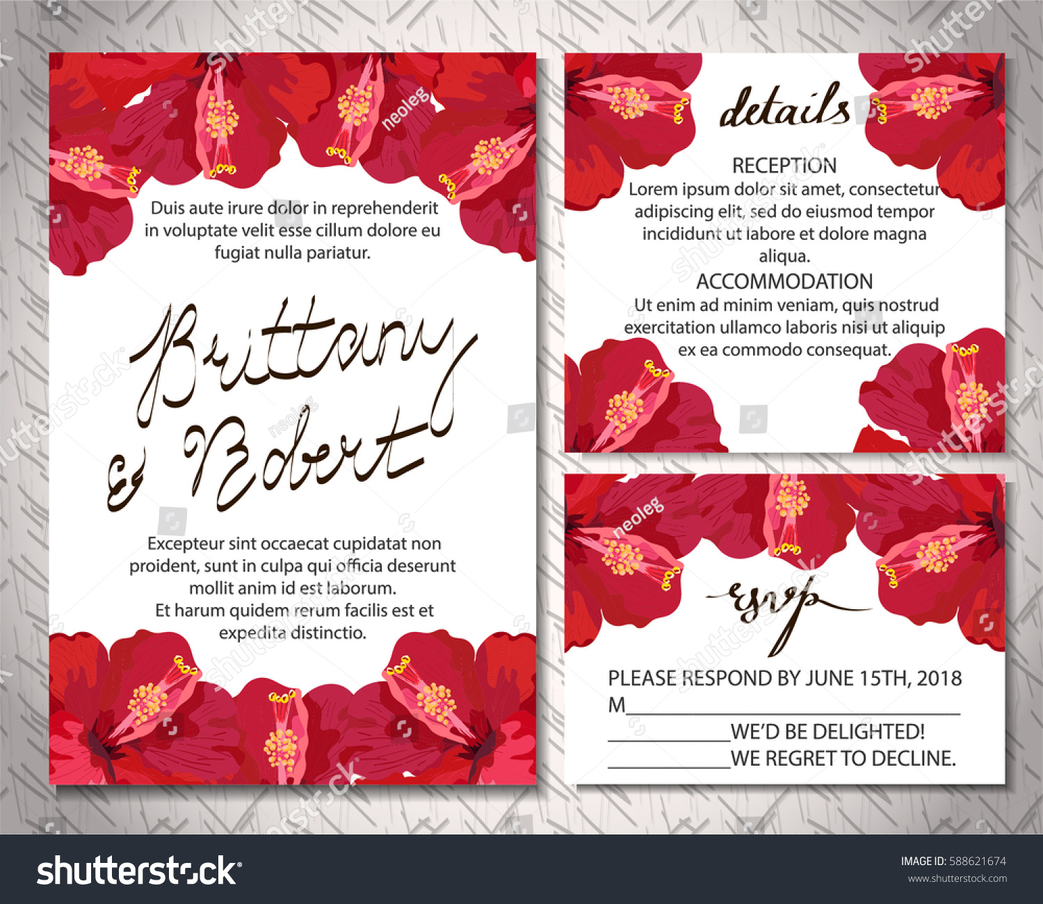 Wedding INVITATION Wedding Cards Tropical Flowers Stock Vector HD ...