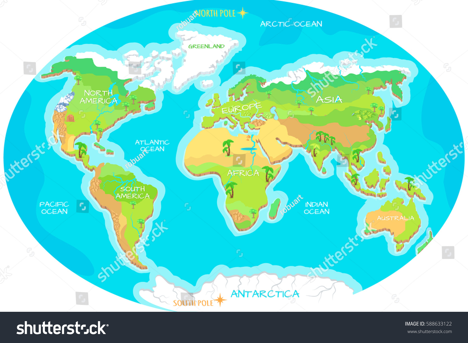 World Geographical Map Names Continents Oceans Stock Vector