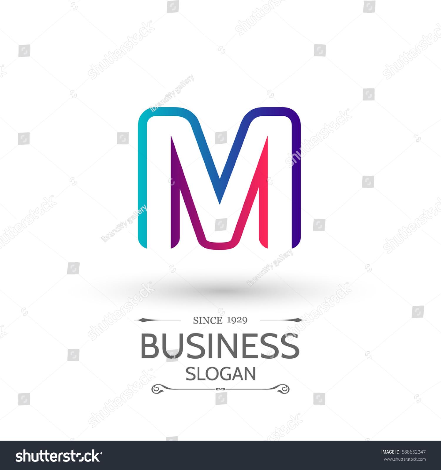 multicolored m letter logo alphabet logo stock vector royalty free