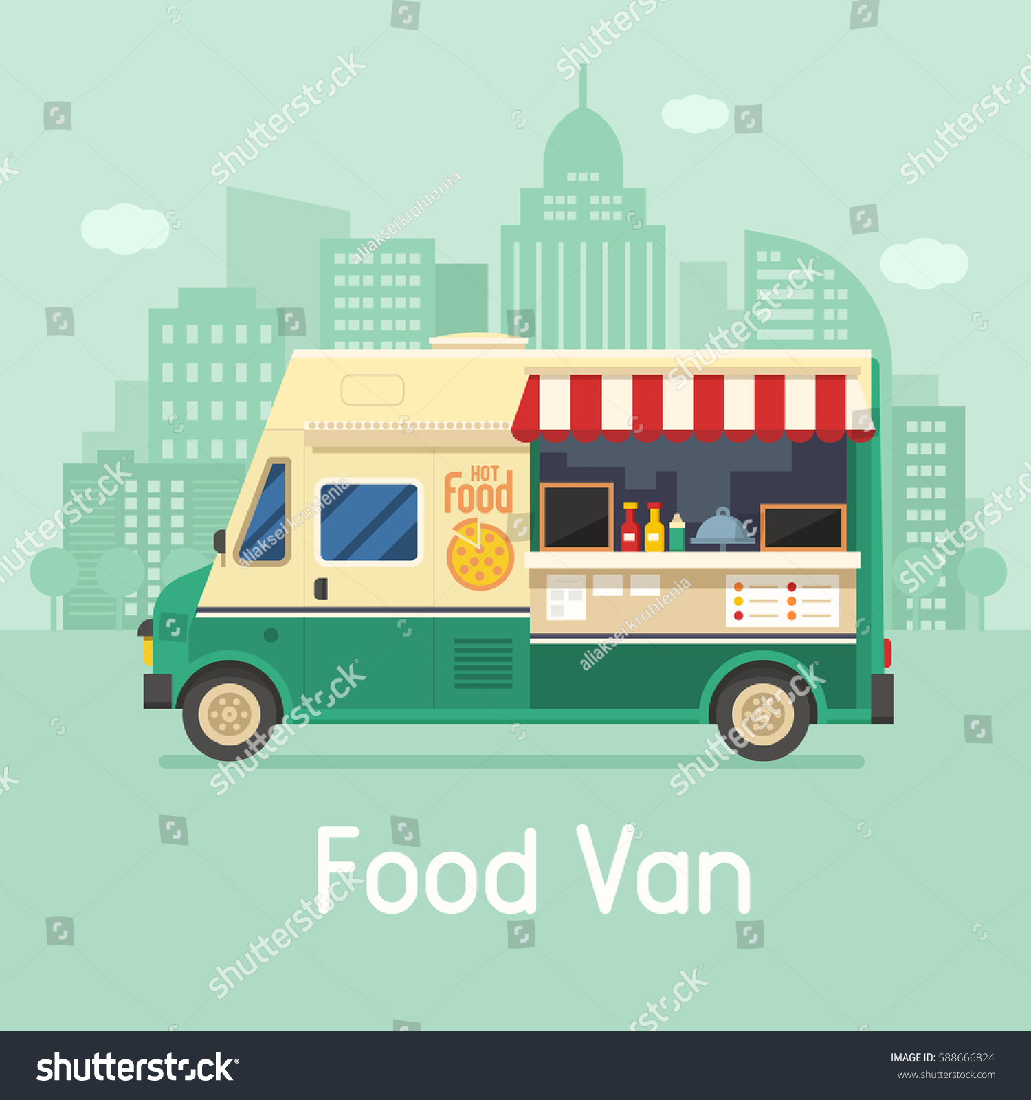 Street Food Truck On City Background Stock Vector 588666824 ...