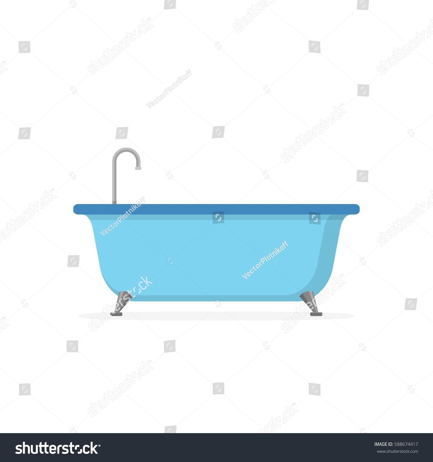 Blue Bathtub Isolated On White Background Stock Vector HD (Royalty ...