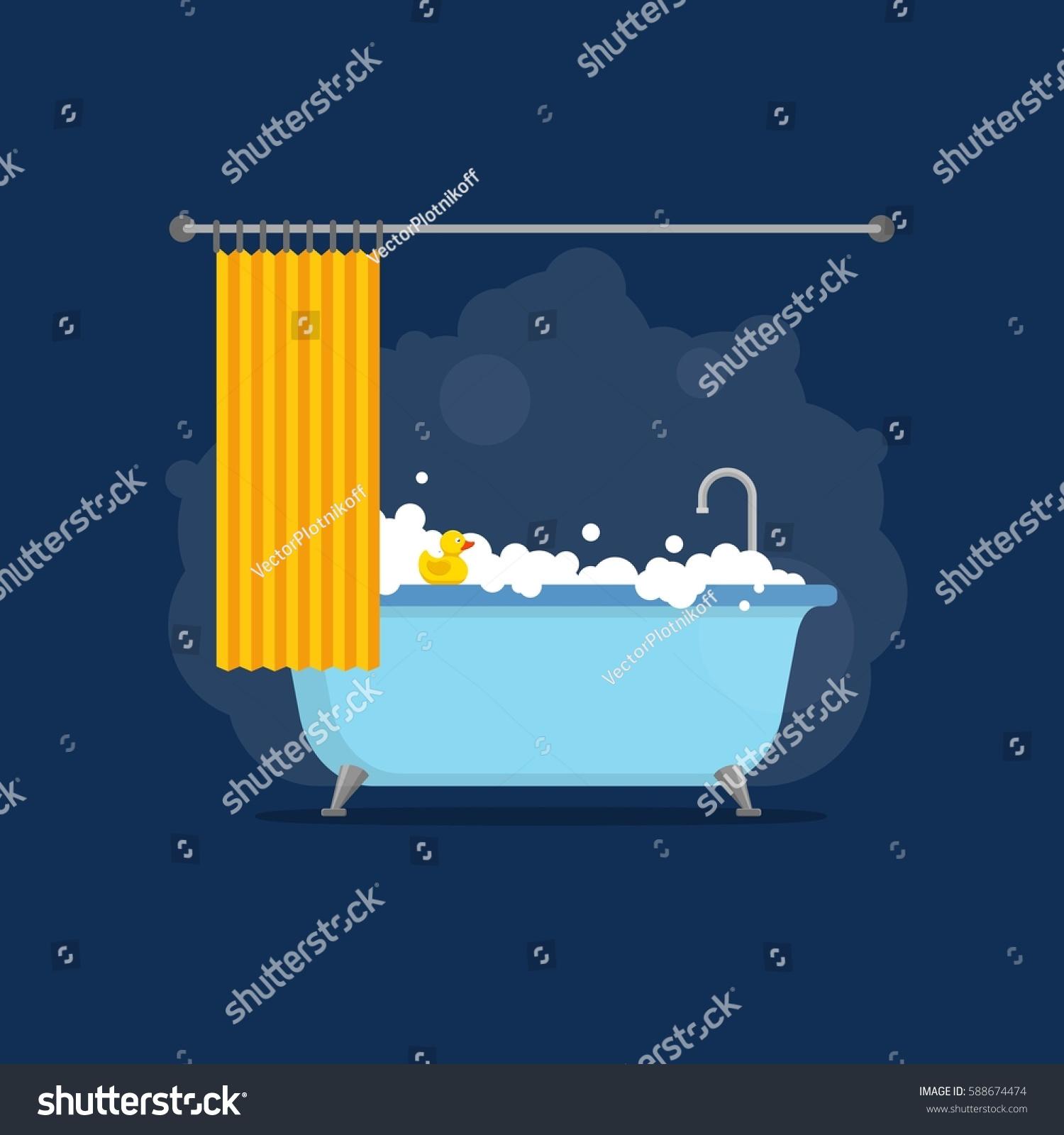 Bathtub Foam Bubbles Inside Bath Yellow Stock Vector 588674474 ...