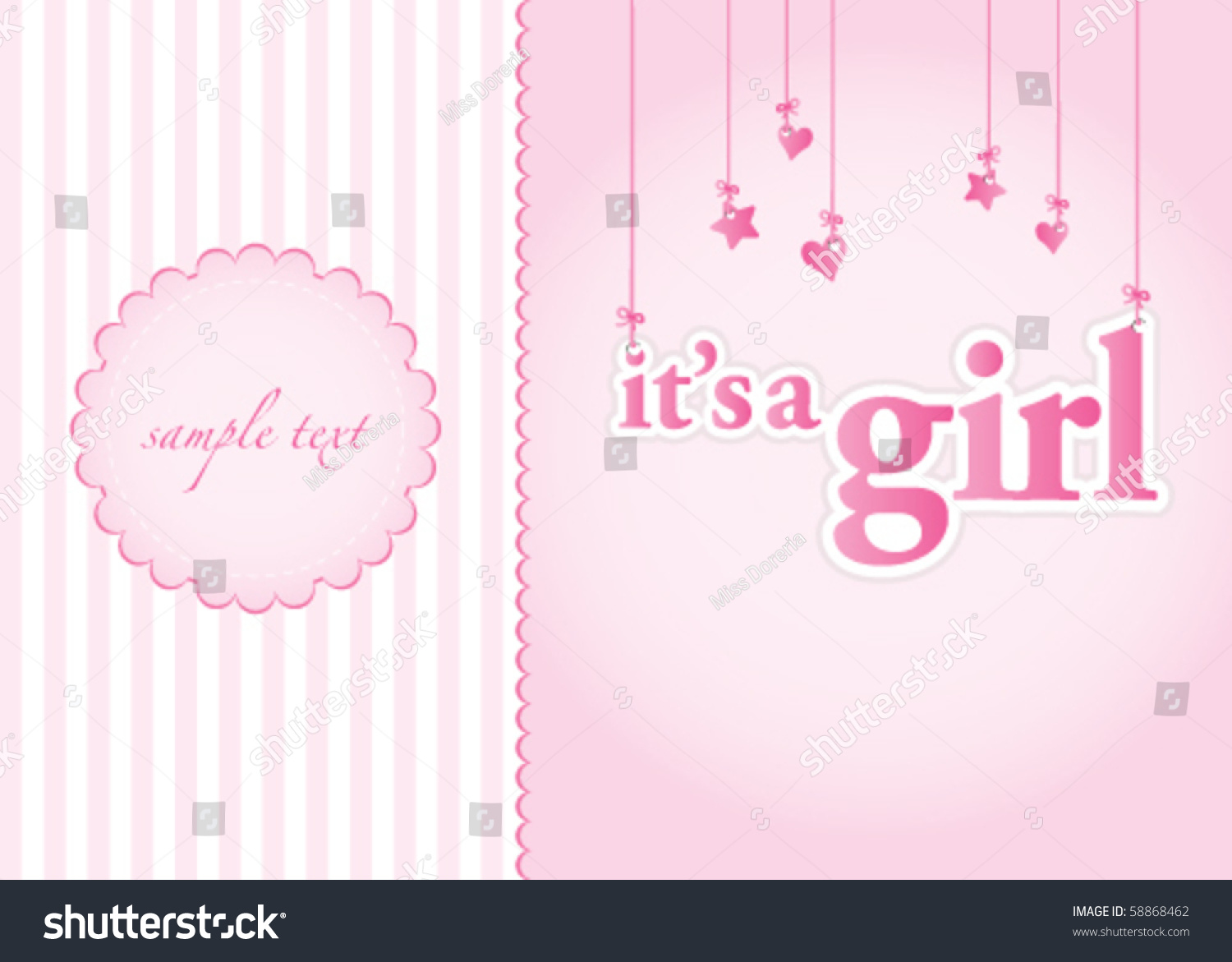 Baby Girl Arrival Announcement Card. Perfect As A Template ...