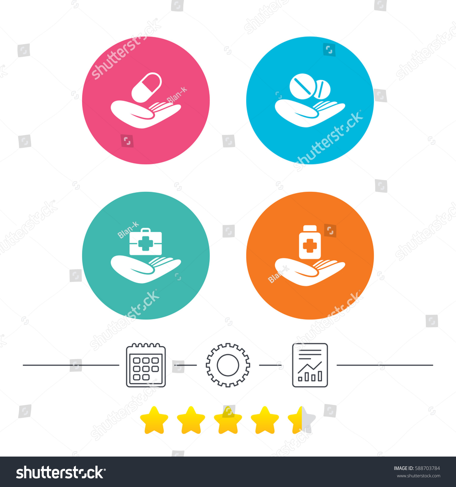 Helping Hands Icons Medical Health Insurance Stock Illustration
