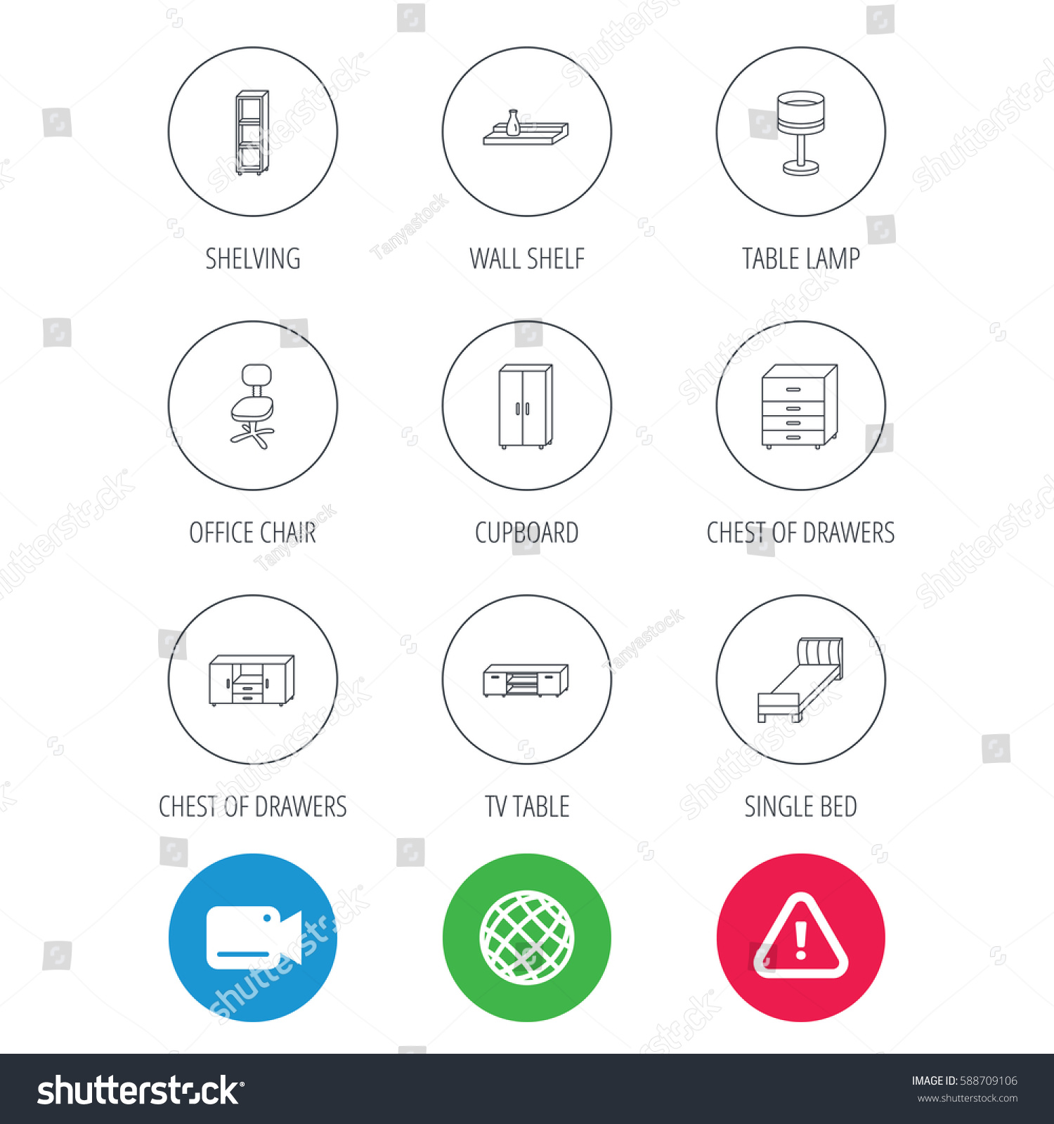Single bed tv table shelving icons stock illustration 588709106 single bed tv table and shelving icons office chair table lamp and cupboard geotapseo Gallery