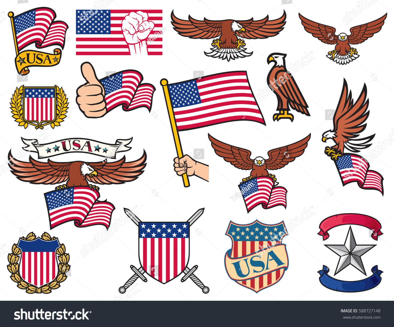 Usa Symbols Flying Eagle Holding Flag Stock Vector Royalty Free