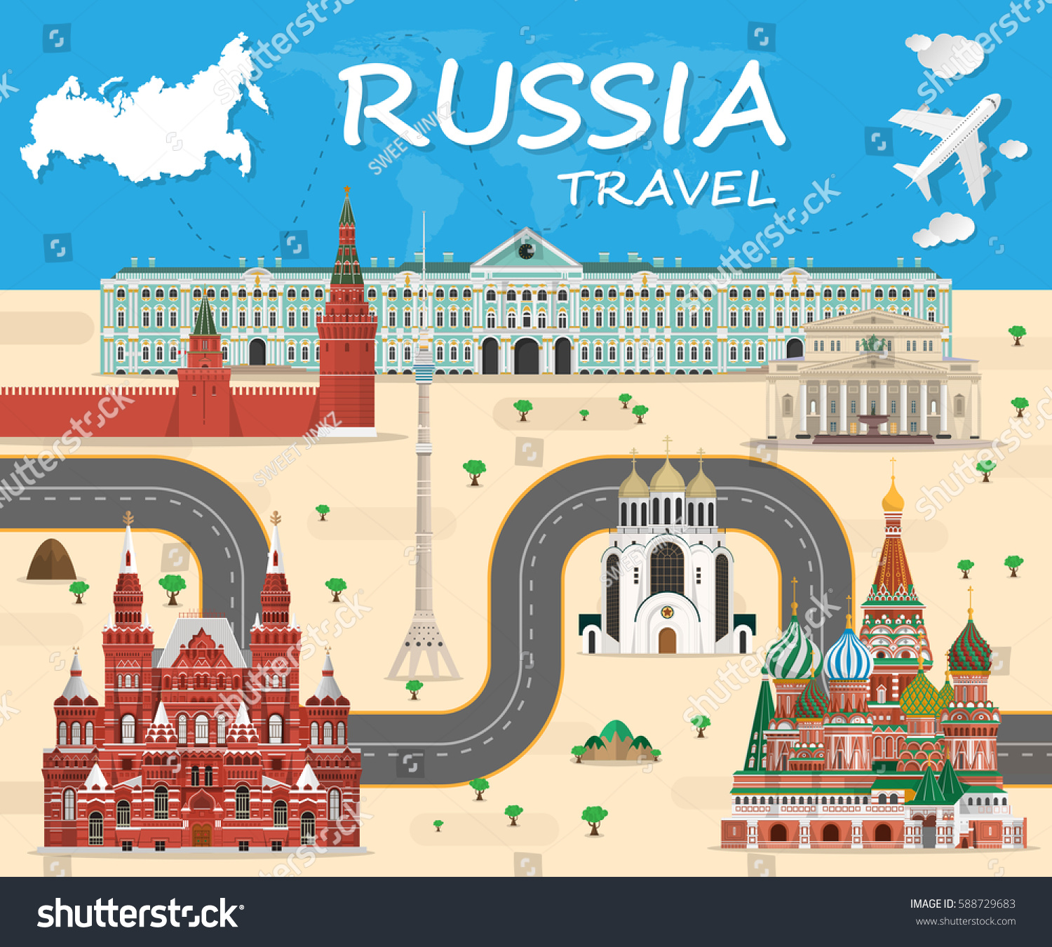 Russia Landmark Global Travel And Journey Infographic Background Vector Design Templateused For Your