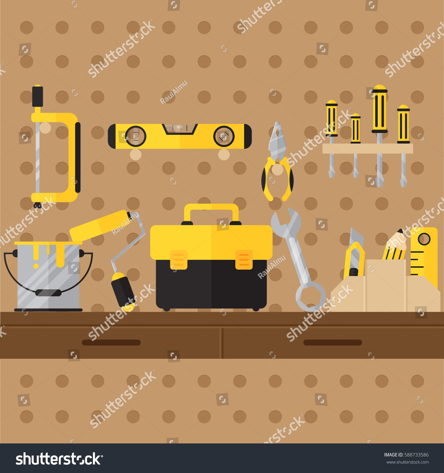 construction tool workshop on pegboard do เวกเตอร สต อก 588733586