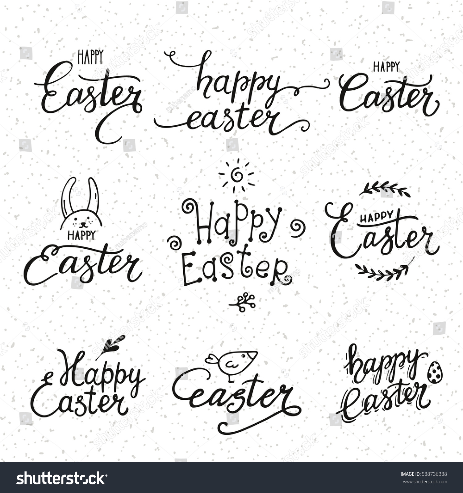 happy easter congratulations artistic collection handwritten stock