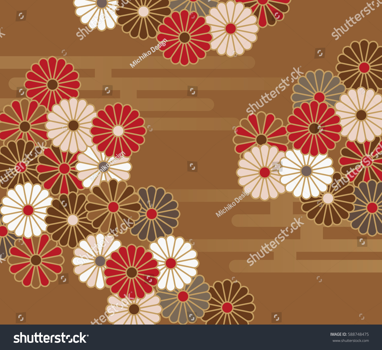 japanese style floral pattern chrysanthemums stock vector a japanese style floral pattern with chrysanthemums