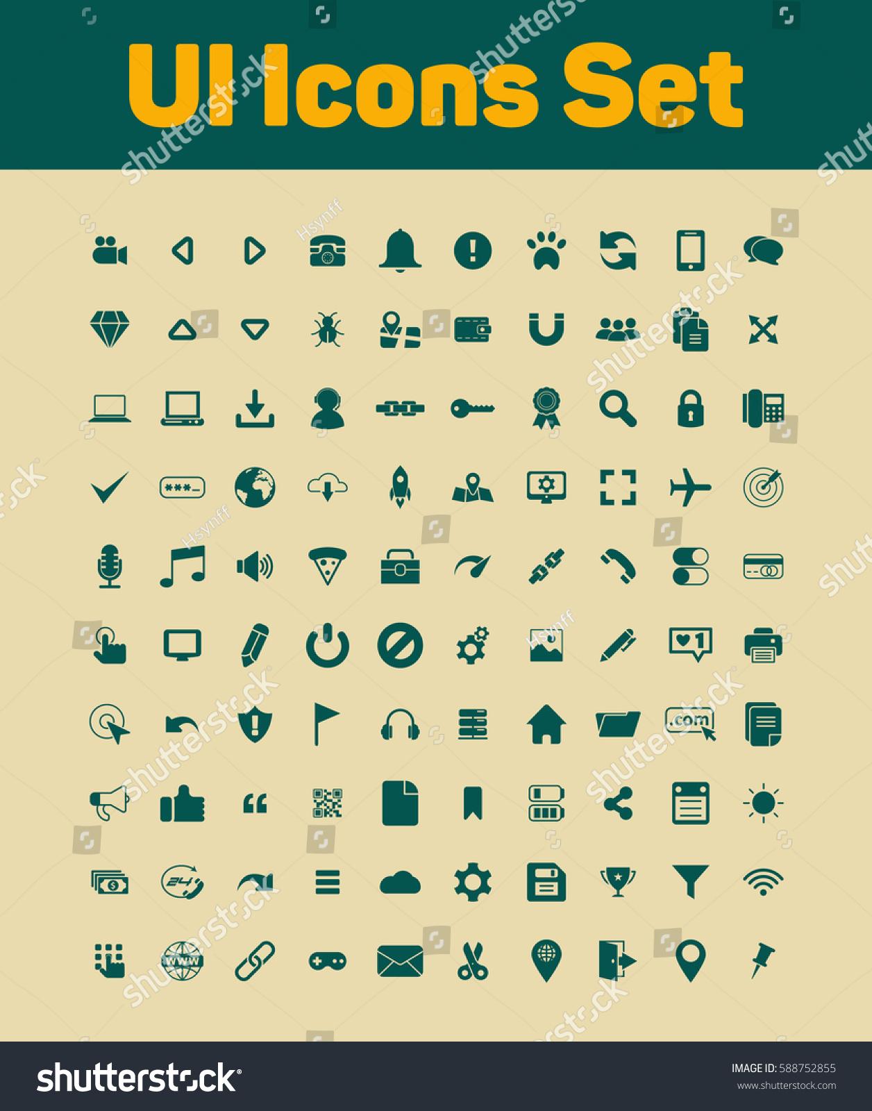 Ui Icons Set Stock Vector 588752855 - Shutterstock