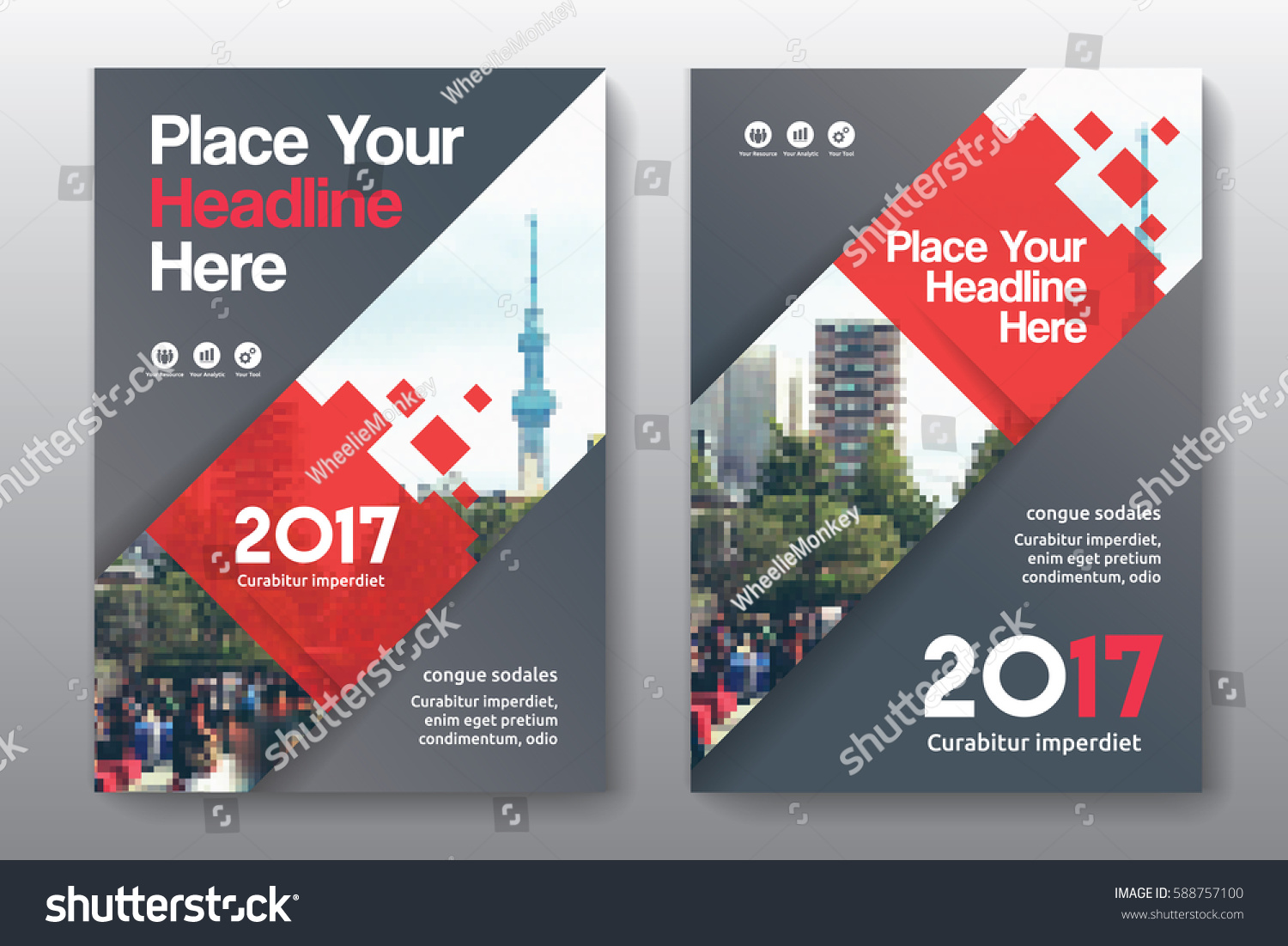 Book color scheme - Red Color Scheme With City Background Business Book Cover Design Template In A4 Can Be