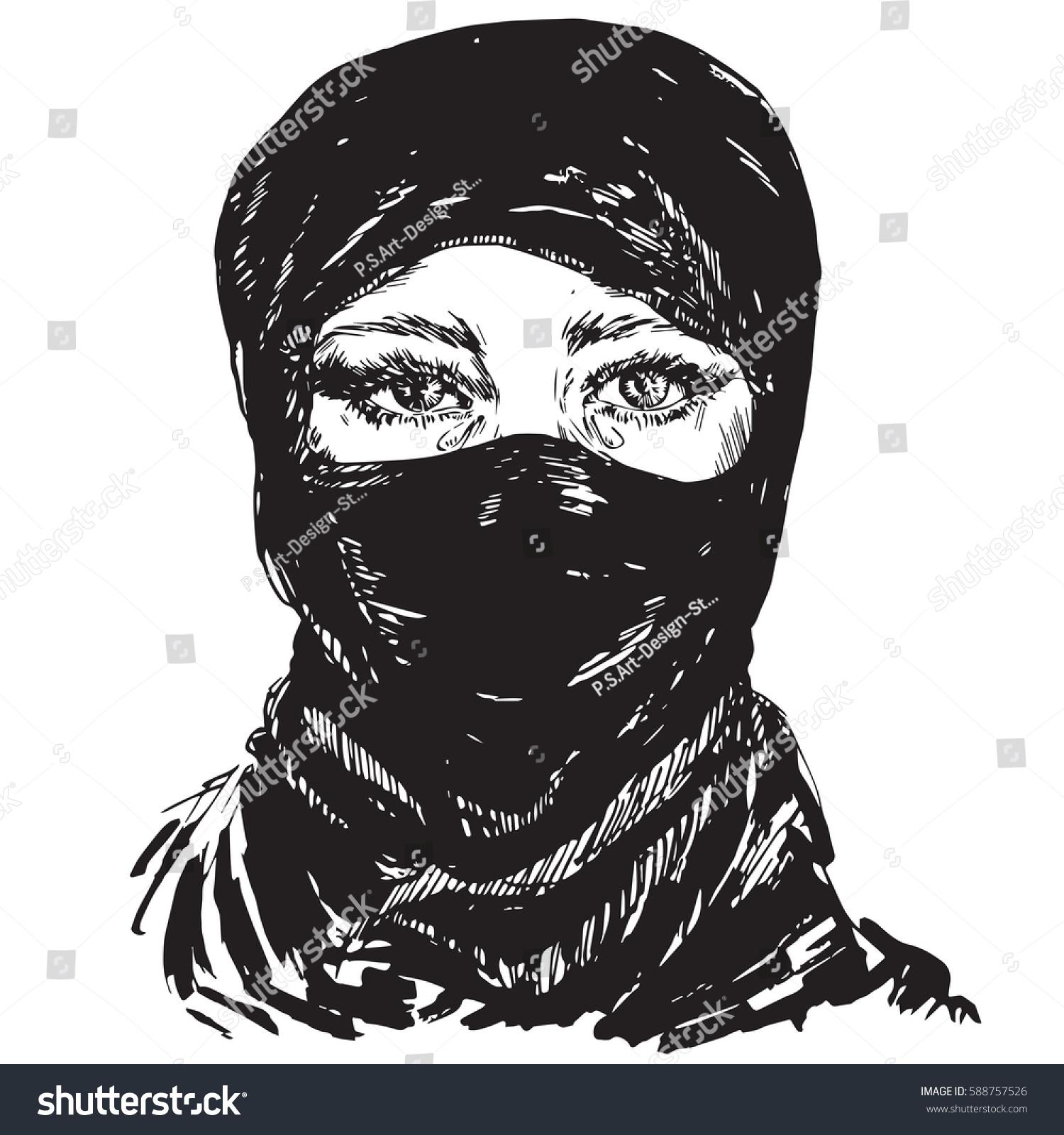 The beautiful muslim girl crying face hidden in a black headscarf hijab