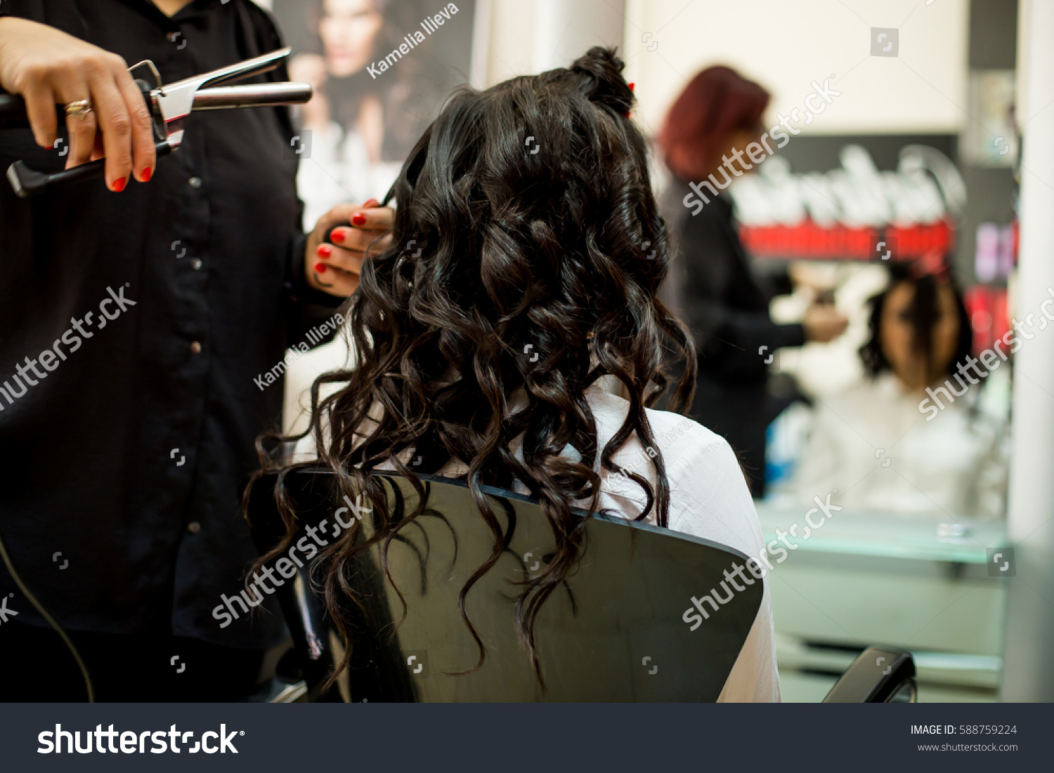 Young Woman Getting Her Hair Curled Stock Photo Edit Now 32