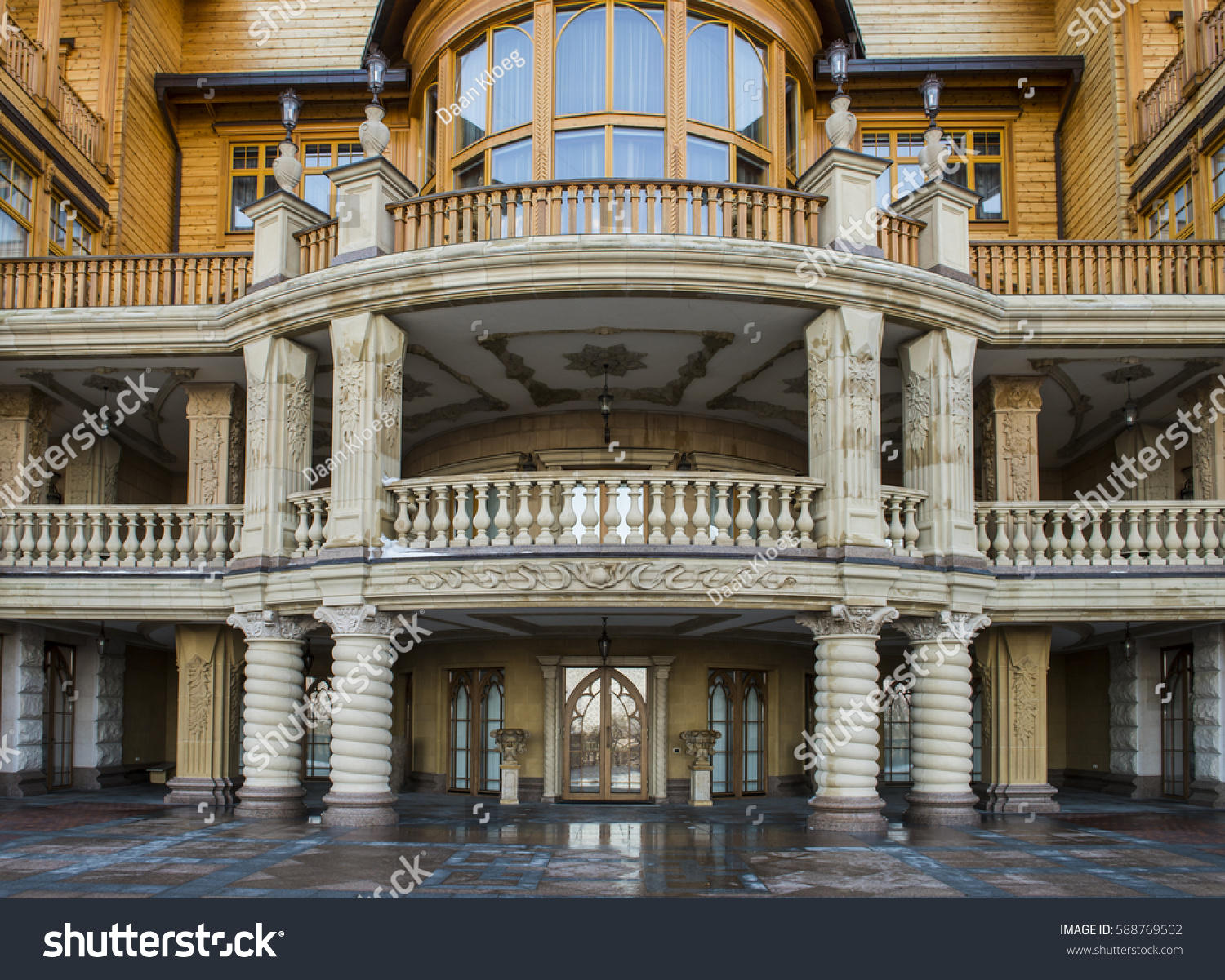 Kiev Ukraine February 19 2017: Wooden Palace Of Viktor . Full resolution‎  file, nominally Width 1500 Height 1201 pixels, file with #996F32.