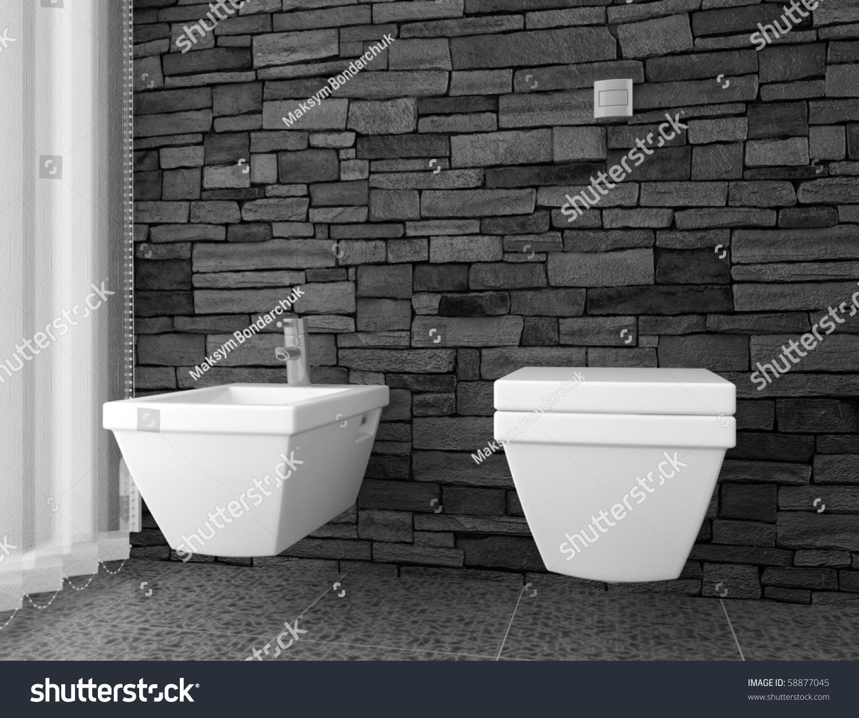 Modern Toilet Black Stone Wall White Stock Photo - White toilet with black seat