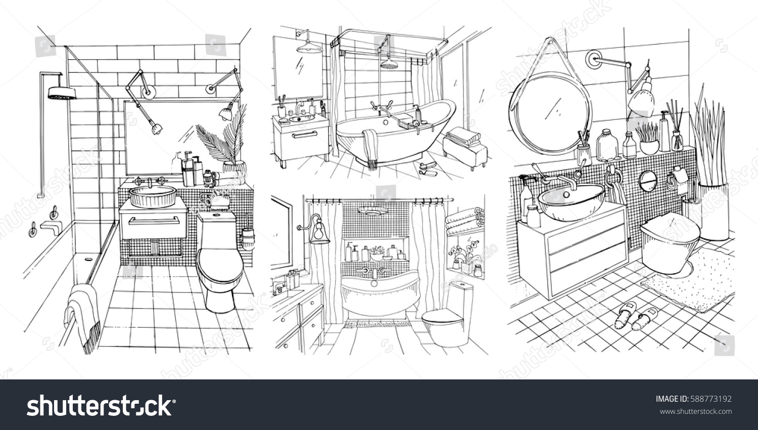 Hand Drawn Modern Bathroom And Toilet Interior Design Collection Contour Vector Sketch Illustrations Set