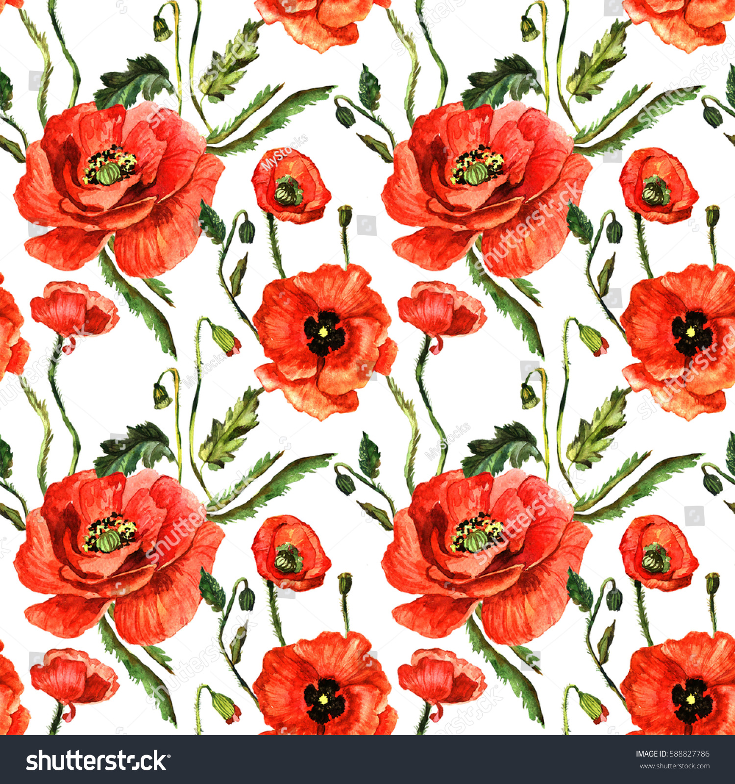 Wildflower poppy flower pattern watercolor style stock illustration wildflower poppy flower pattern in a watercolor style isolated full name of the plant mightylinksfo