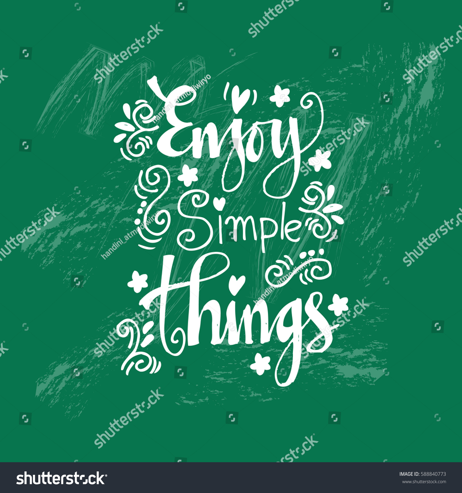 Enjoy Simple Things Inspirational Quote Hand Drawn Illustration ...