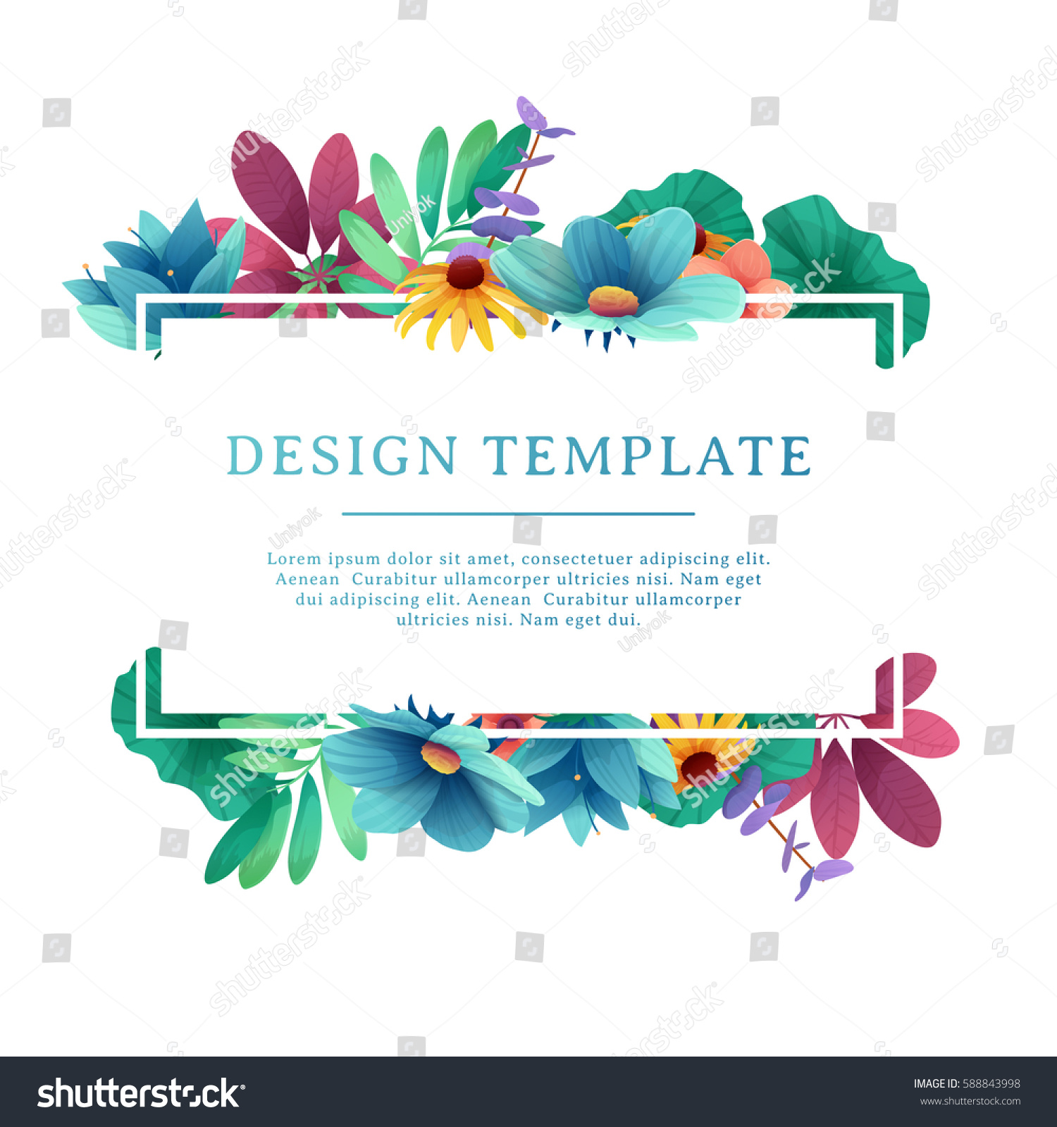 Banner Design Template Floral Decoration Rectangular Stock