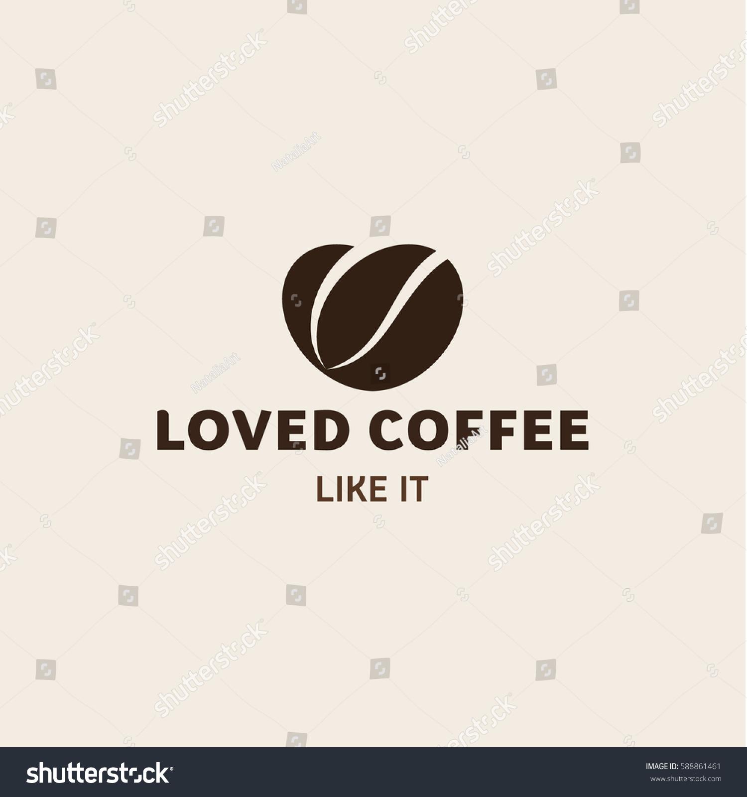 Love Coffee Logo Coffee Beans Form Stock Illustration Royalty Free