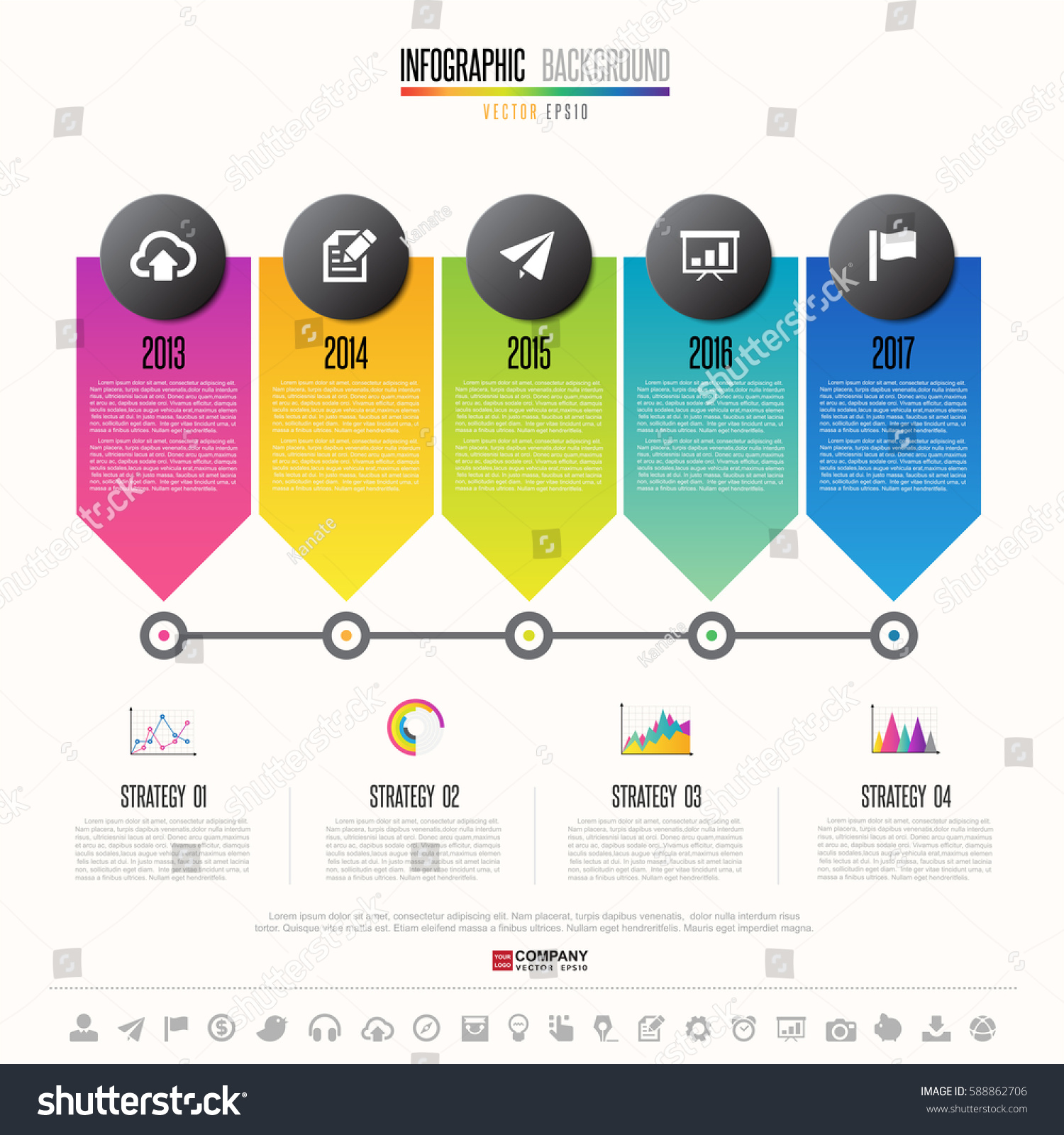 timeline infographics design template icons set のベクター画像素材