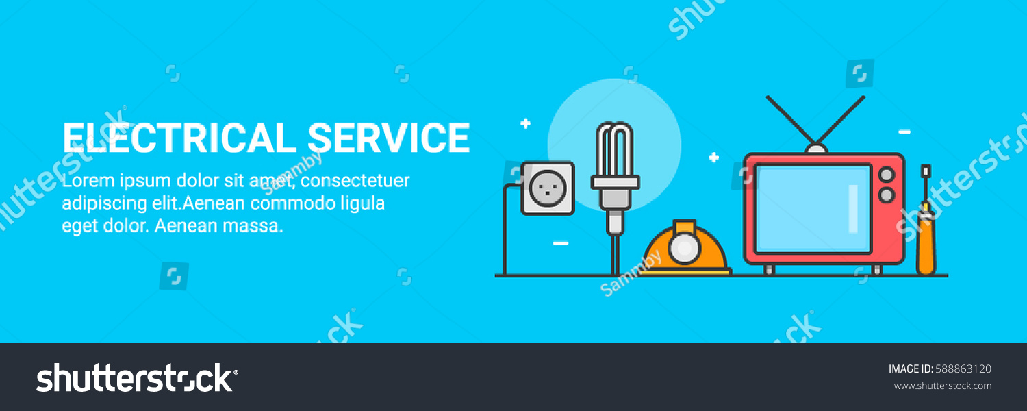 Flat Vector Banner Concept For Electrical Service And Repair Gadgets Isolated On Blue Background
