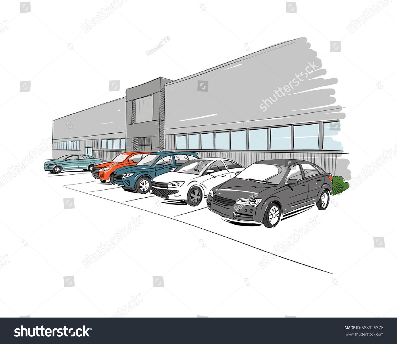 Car Showroom Exterior Design Sketch Hand Stock Vector HD (Royalty ...