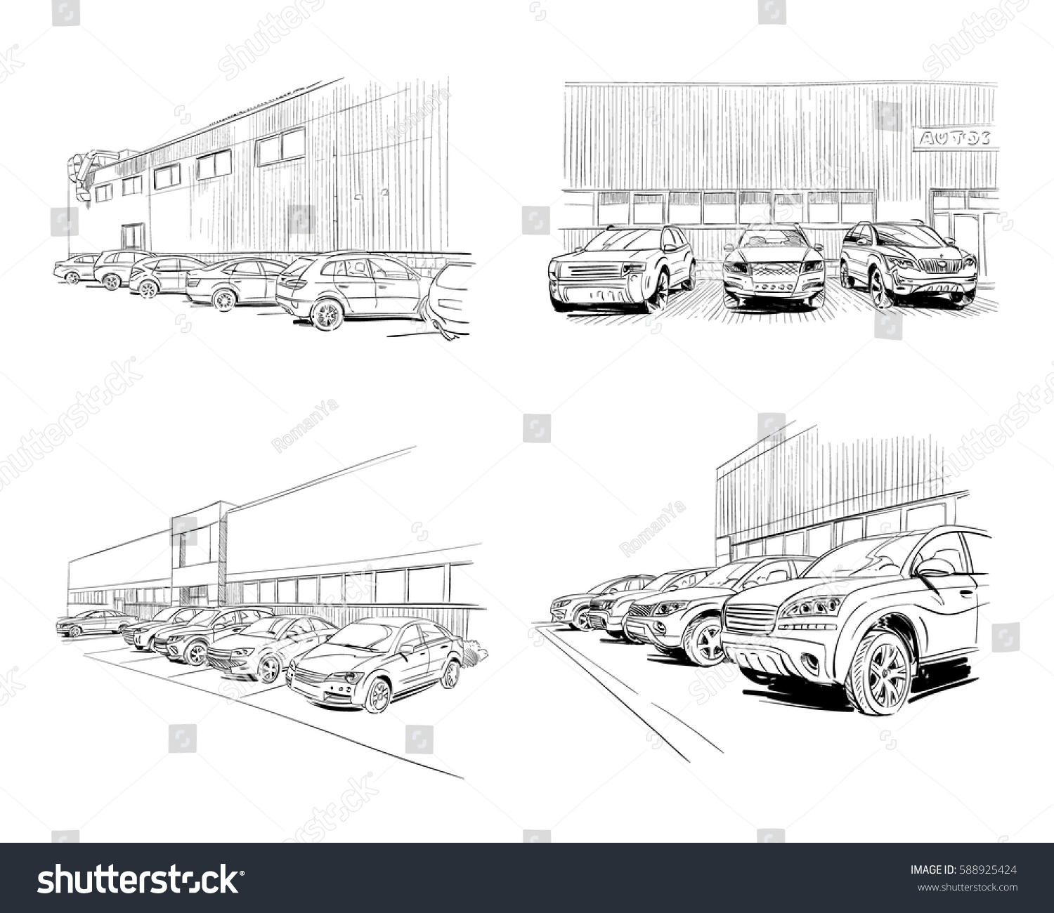 Car showroom exterior design sketch hand stock vector for Car showroom exterior design