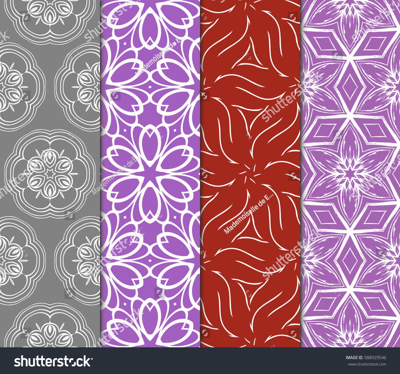 Set Geometric Seamless Pattern Modern Floral Stock Vector